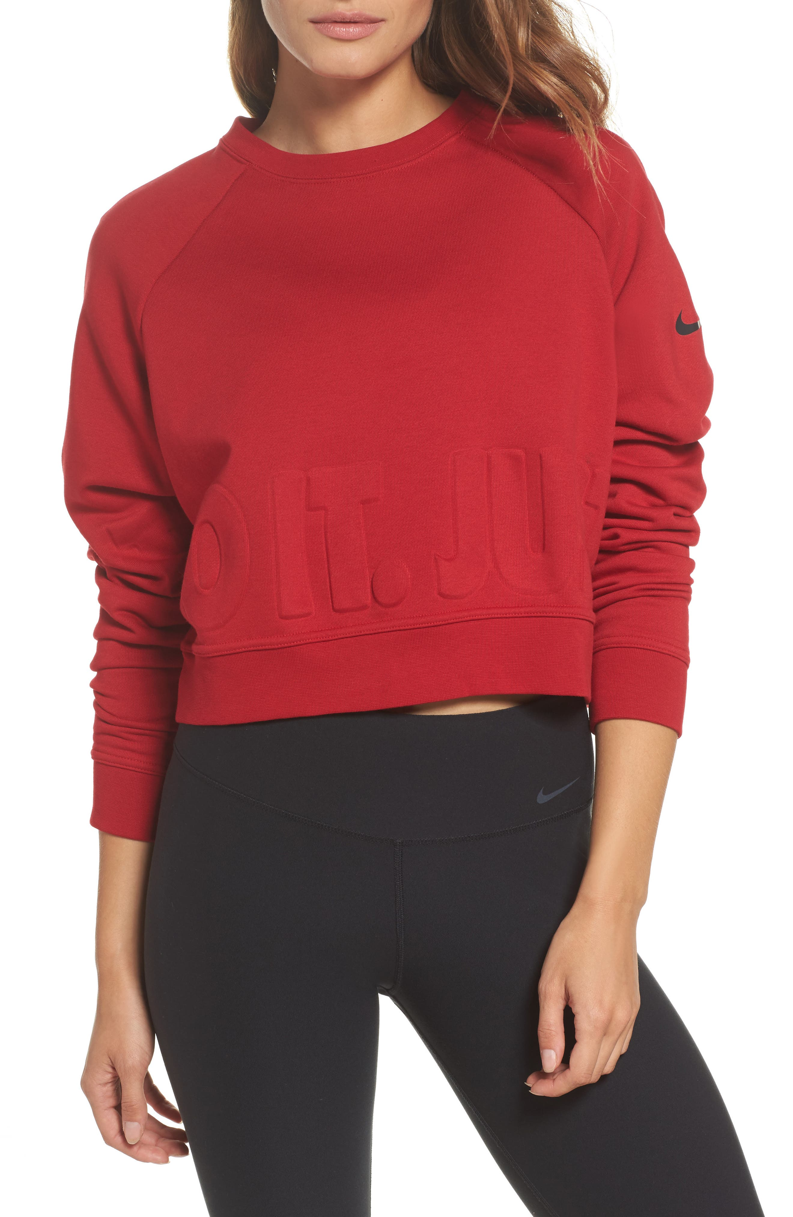 Long Sleeve Crop Training Top,                         Main,                         color, Gym Red/ Black