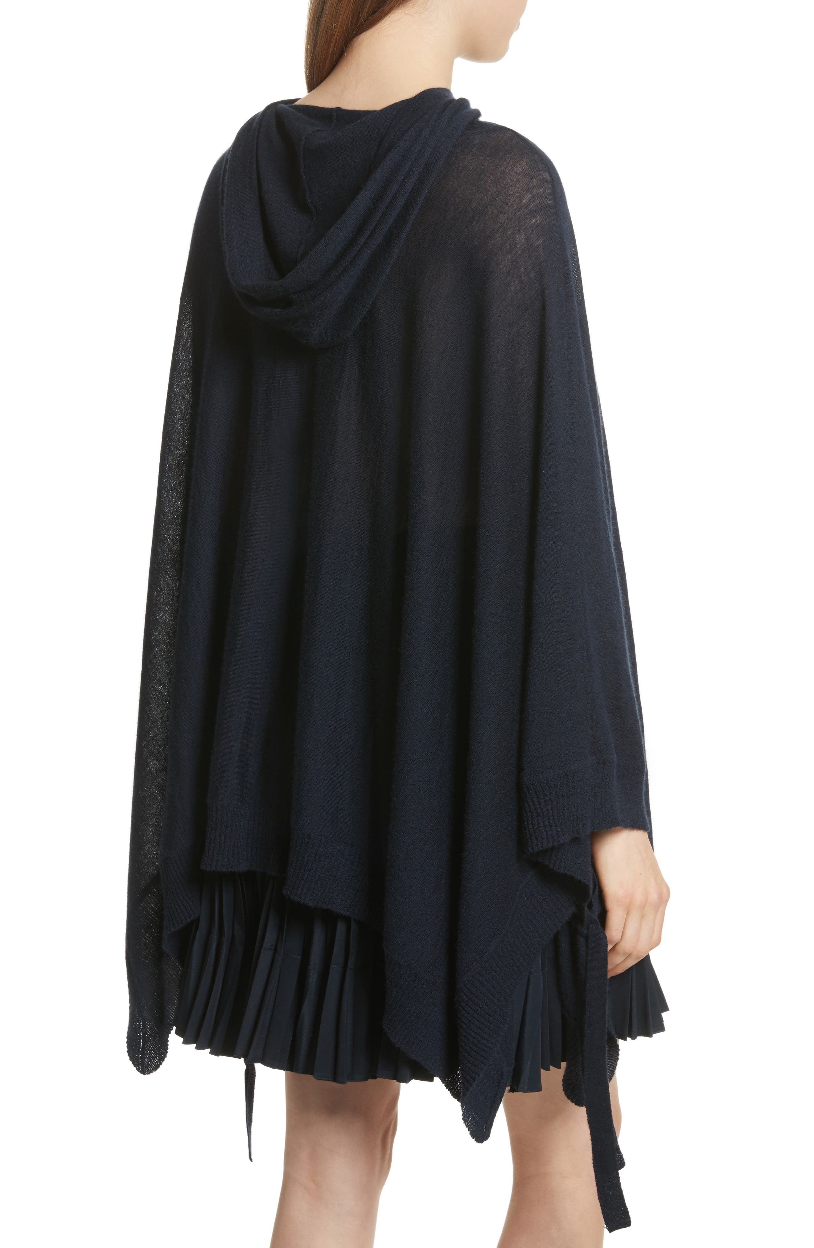 Hooded Wool & Cashmere Poncho,                             Alternate thumbnail 2, color,                             Coastal