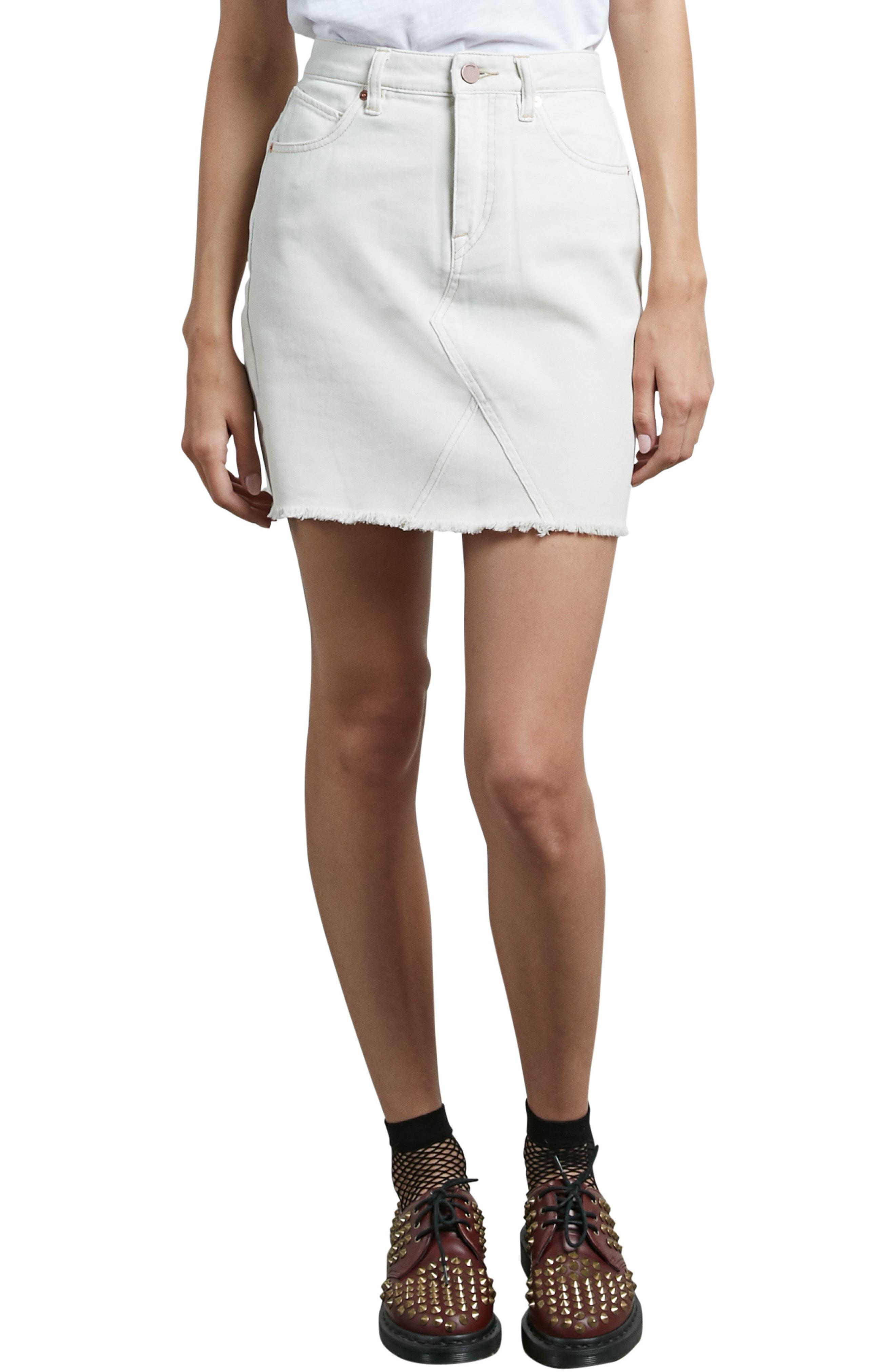 Stone Denim Miniskirt,                         Main,                         color, Vanilla