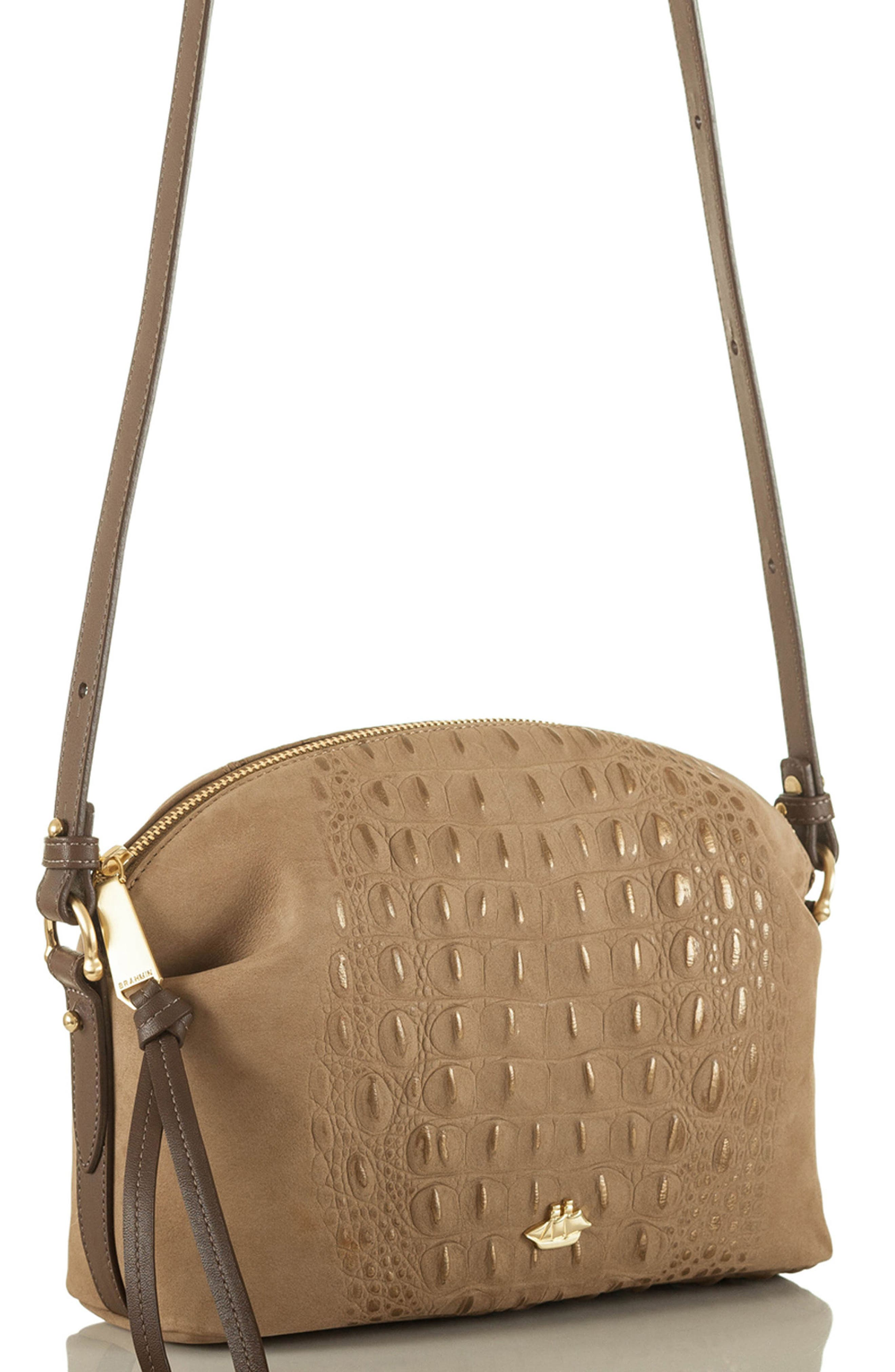 Southcast Haley Metallic Croc Embossed Leather Crossbody Bag,                             Alternate thumbnail 4, color,                             Gold