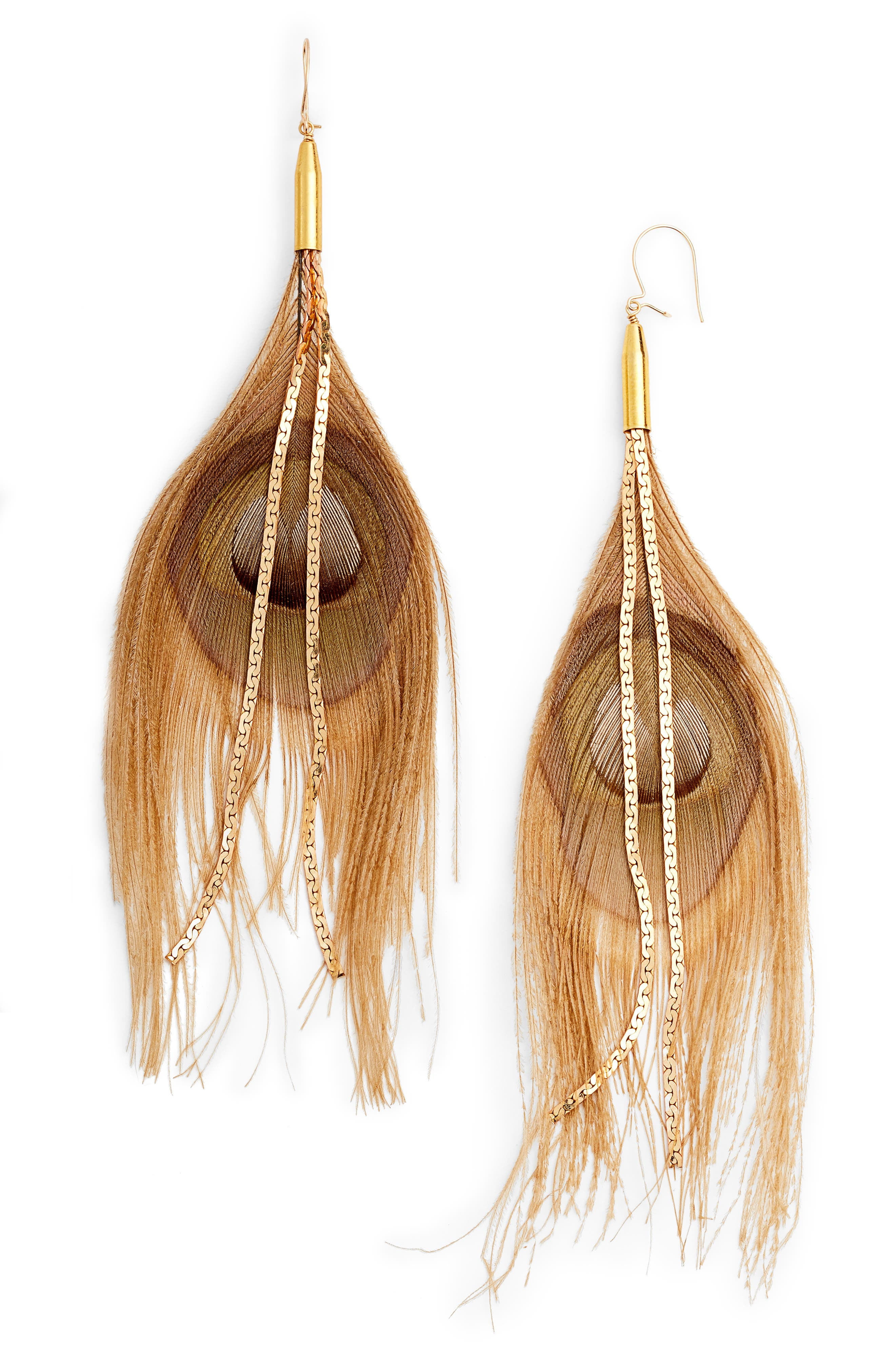 Peacock Feather Earrings,                         Main,                         color, Beige