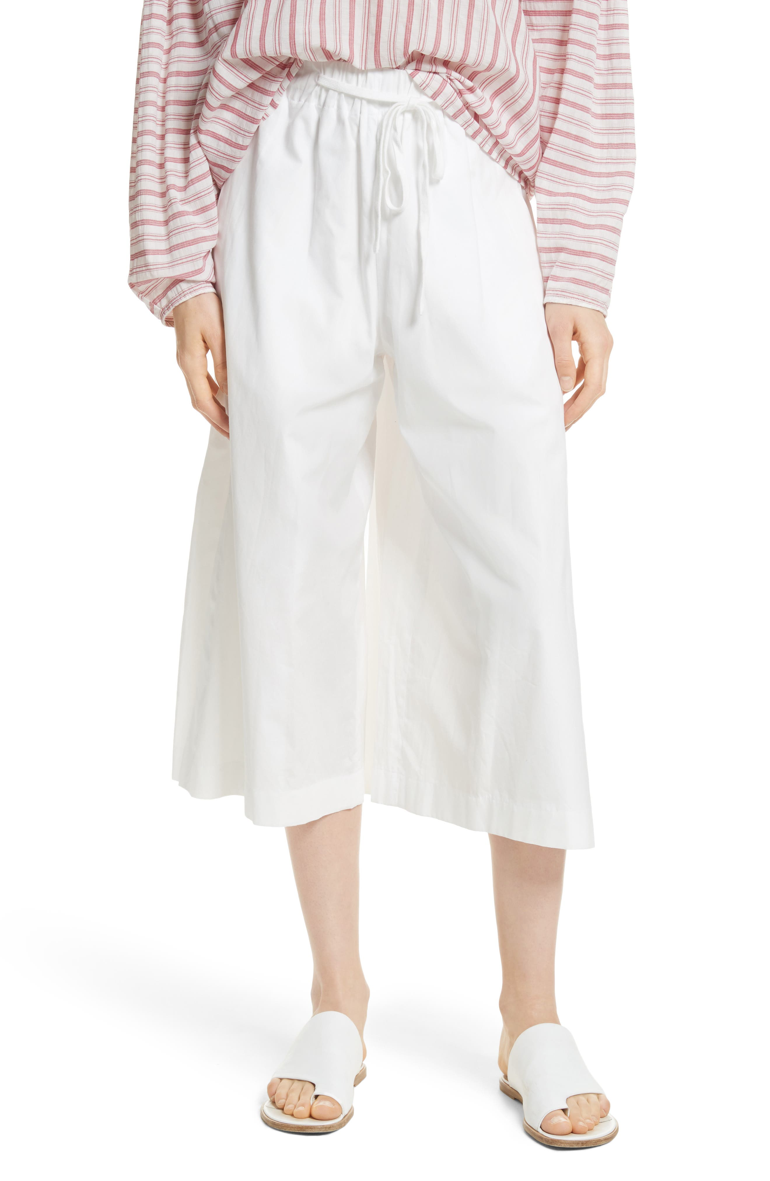 Side Slit Culottes,                         Main,                         color, White