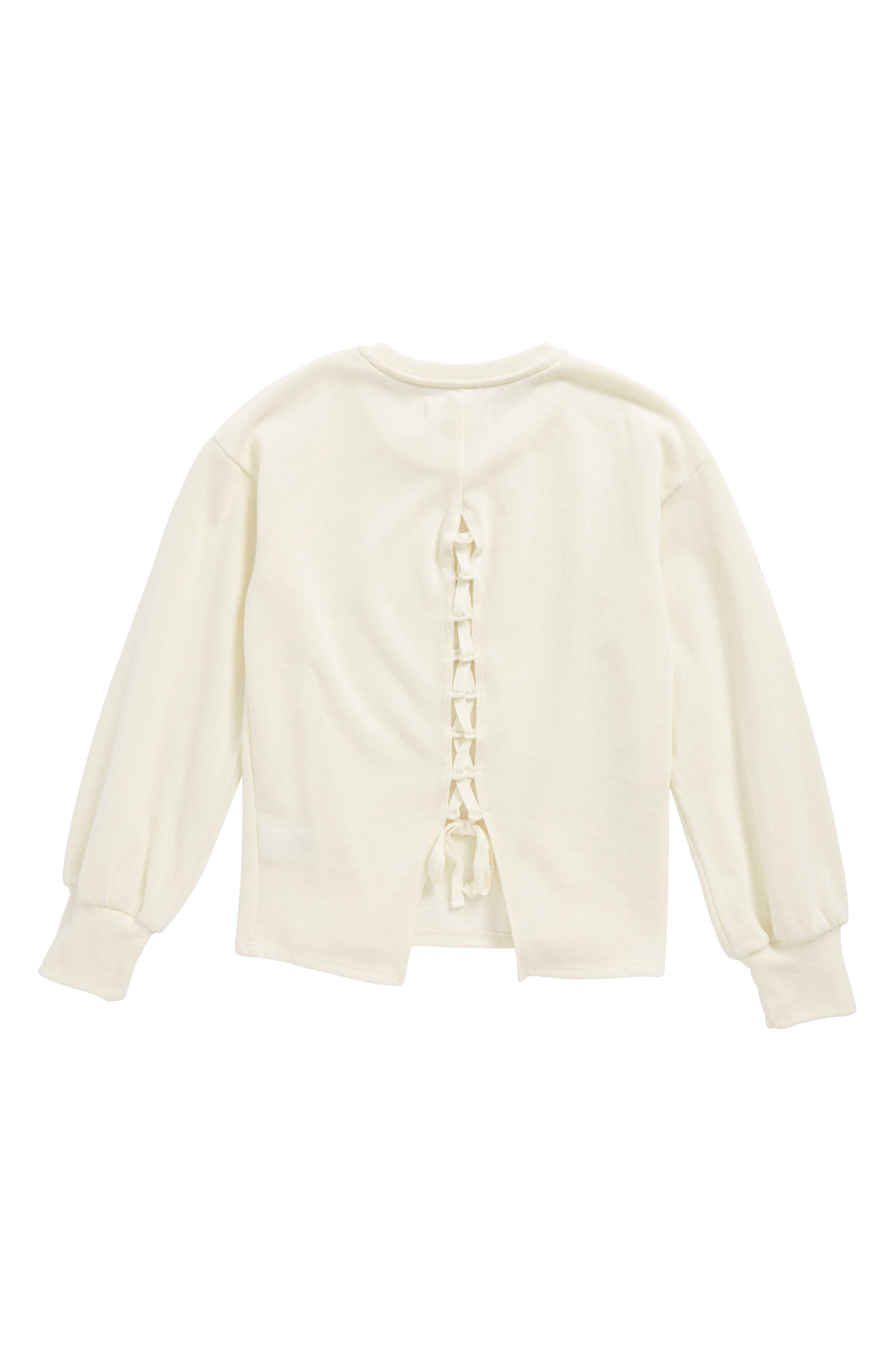 Lace-Up Back Fleece Pullover,                             Alternate thumbnail 2, color,                             Ivory Egret