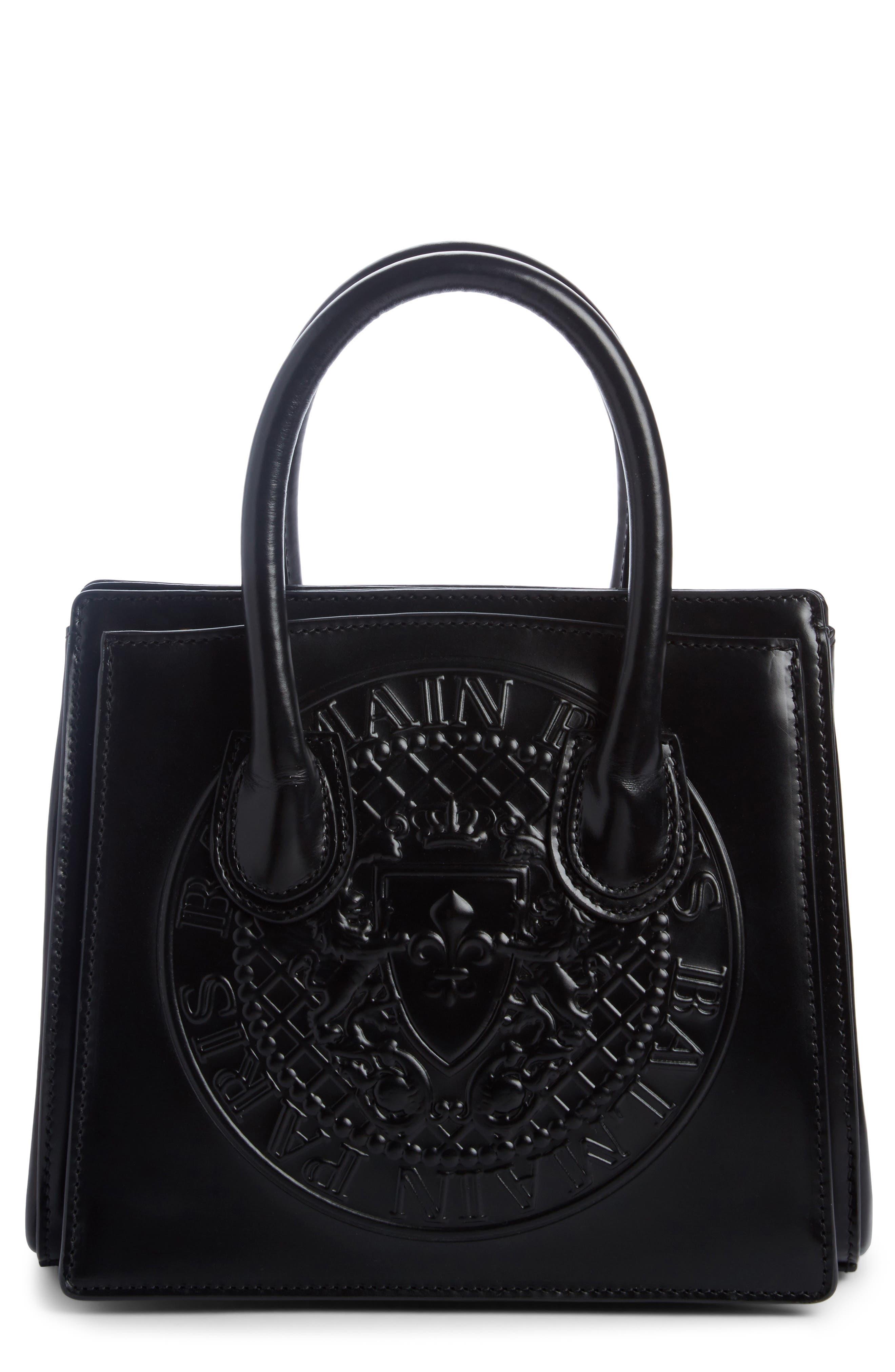 Mini Glace Leather Top Handle Bag,                             Main thumbnail 1, color,                             Noir