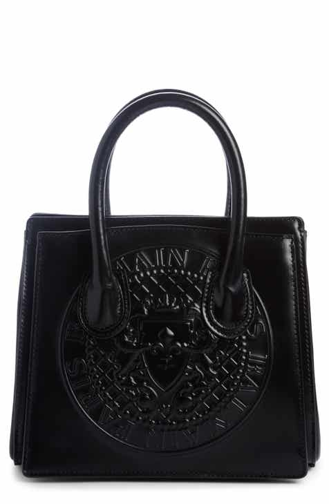 Balmain Mini Glace Leather Top Handle Bag