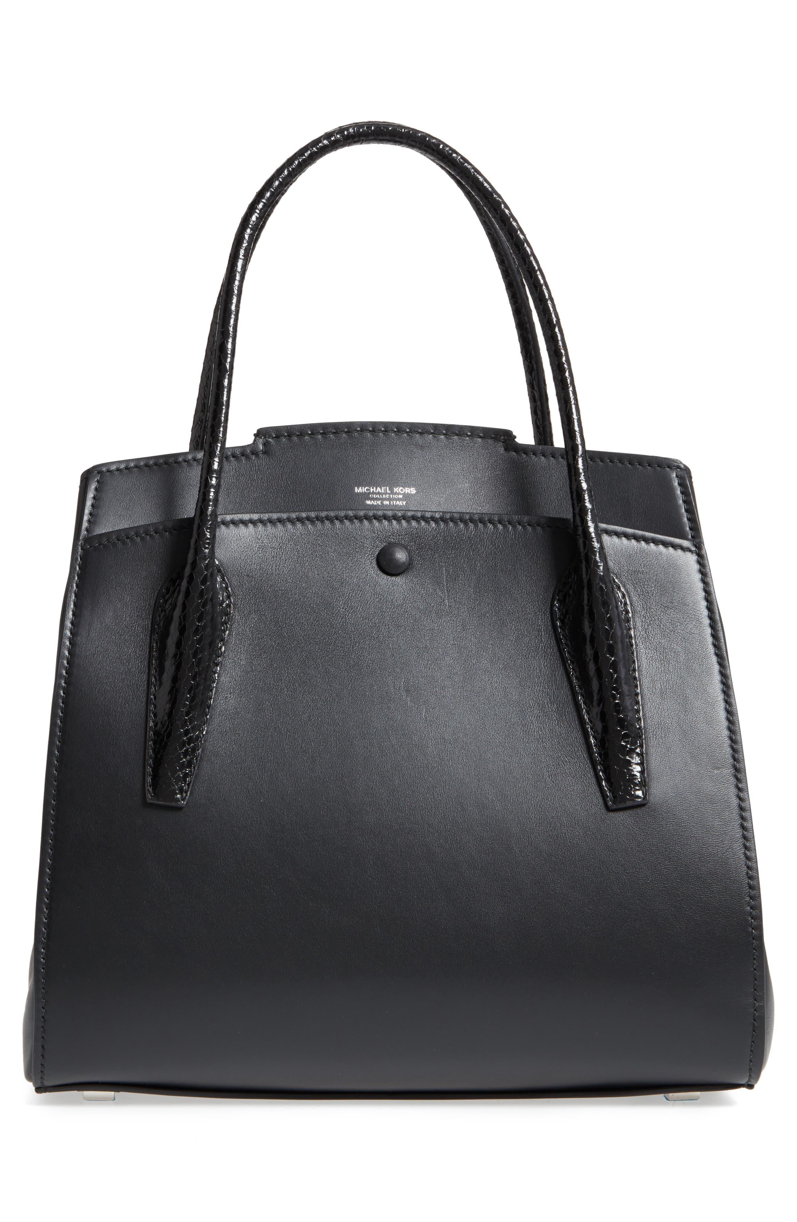 Large Bancroft Leather Top Handle Satchel,                             Alternate thumbnail 3, color,                             Black