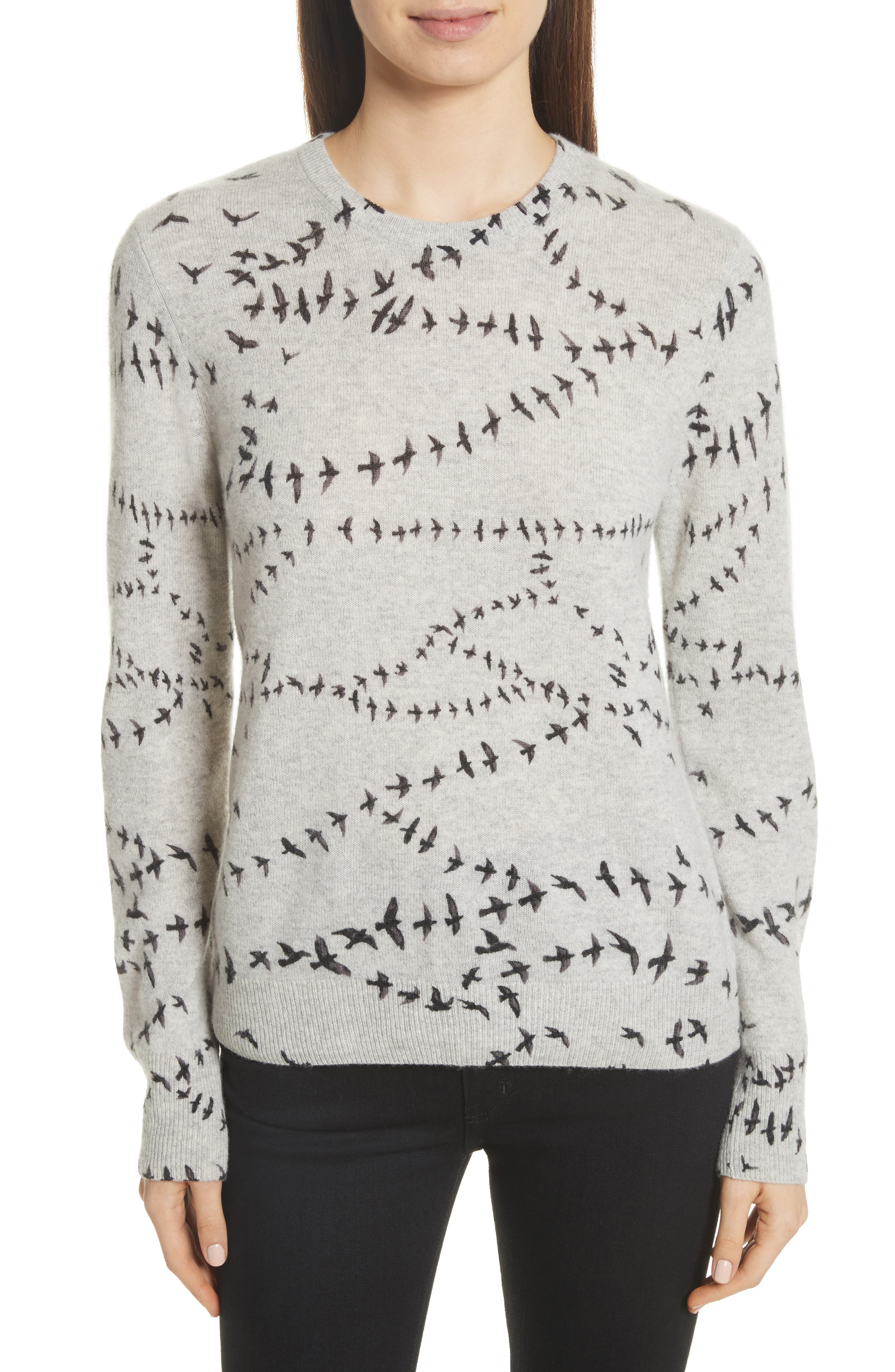 Shane Bird Print Cashmere Sweater,                             Main thumbnail 1, color,                             Light Heather Grey Multi