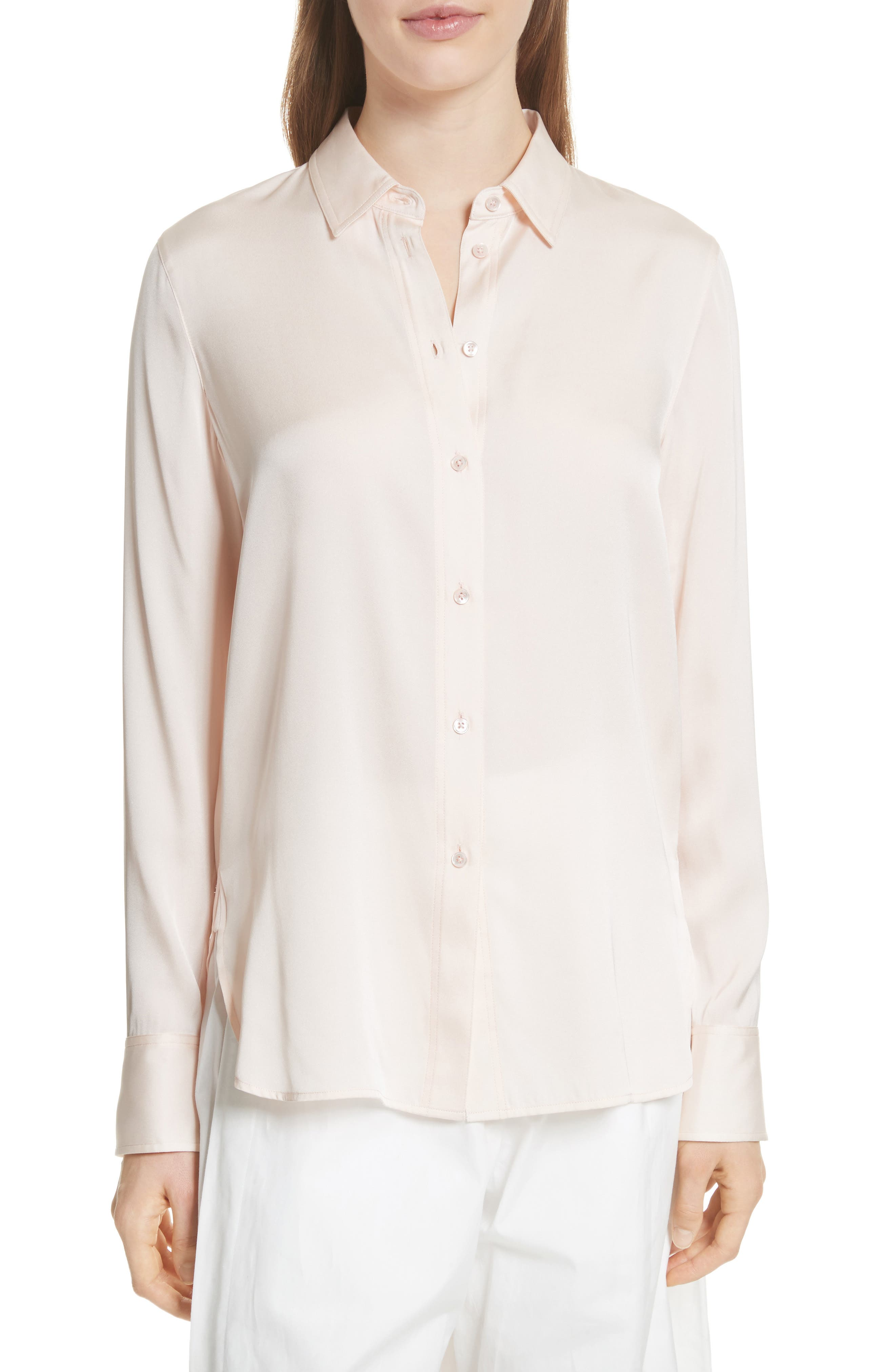 Fitted Stretch Silk Blouse,                             Main thumbnail 1, color,                             Rosewater