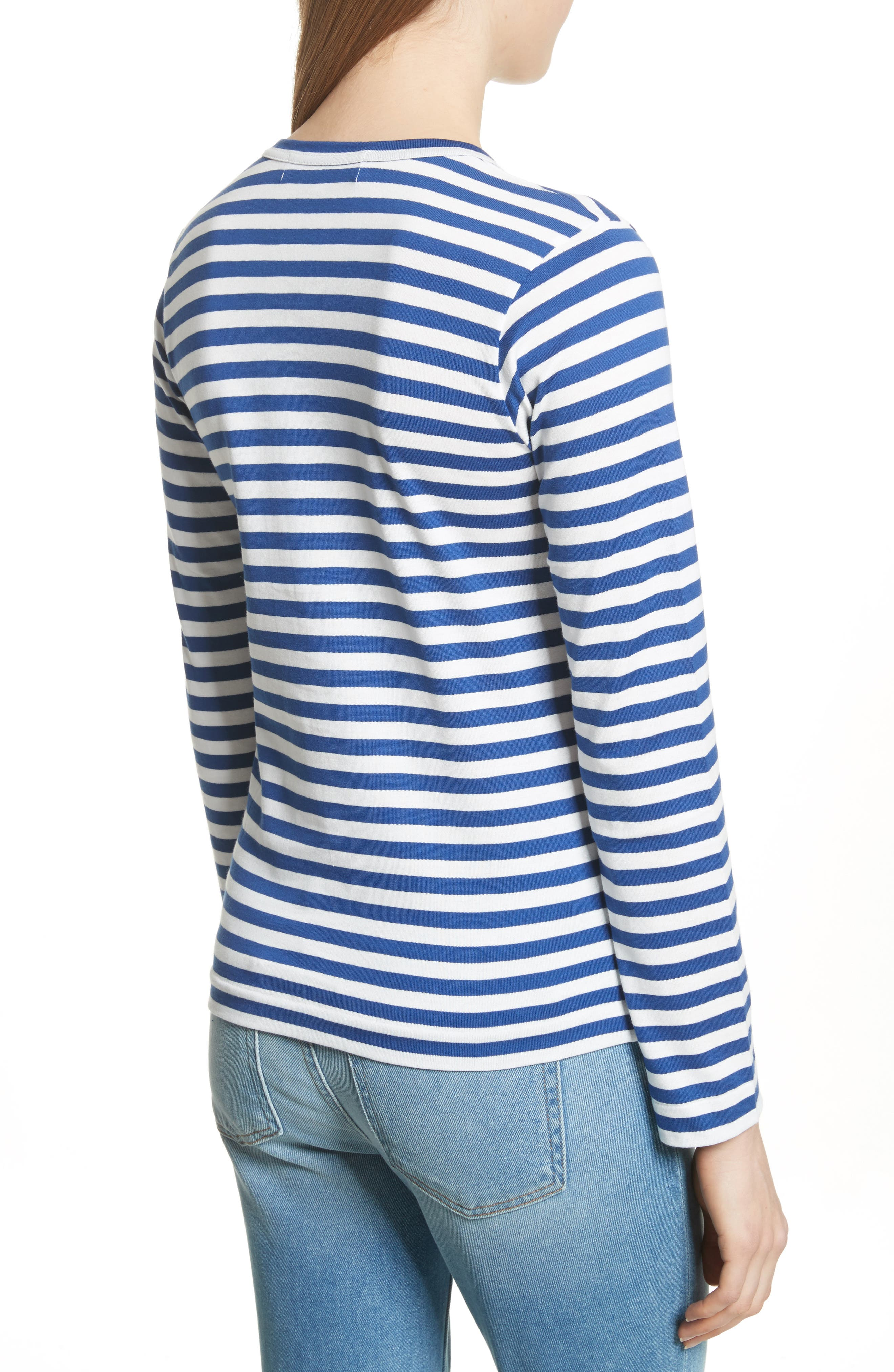 Comme des Garçons PLAY Stripe Cotton Tee,                             Alternate thumbnail 2, color,                             Navy/ White