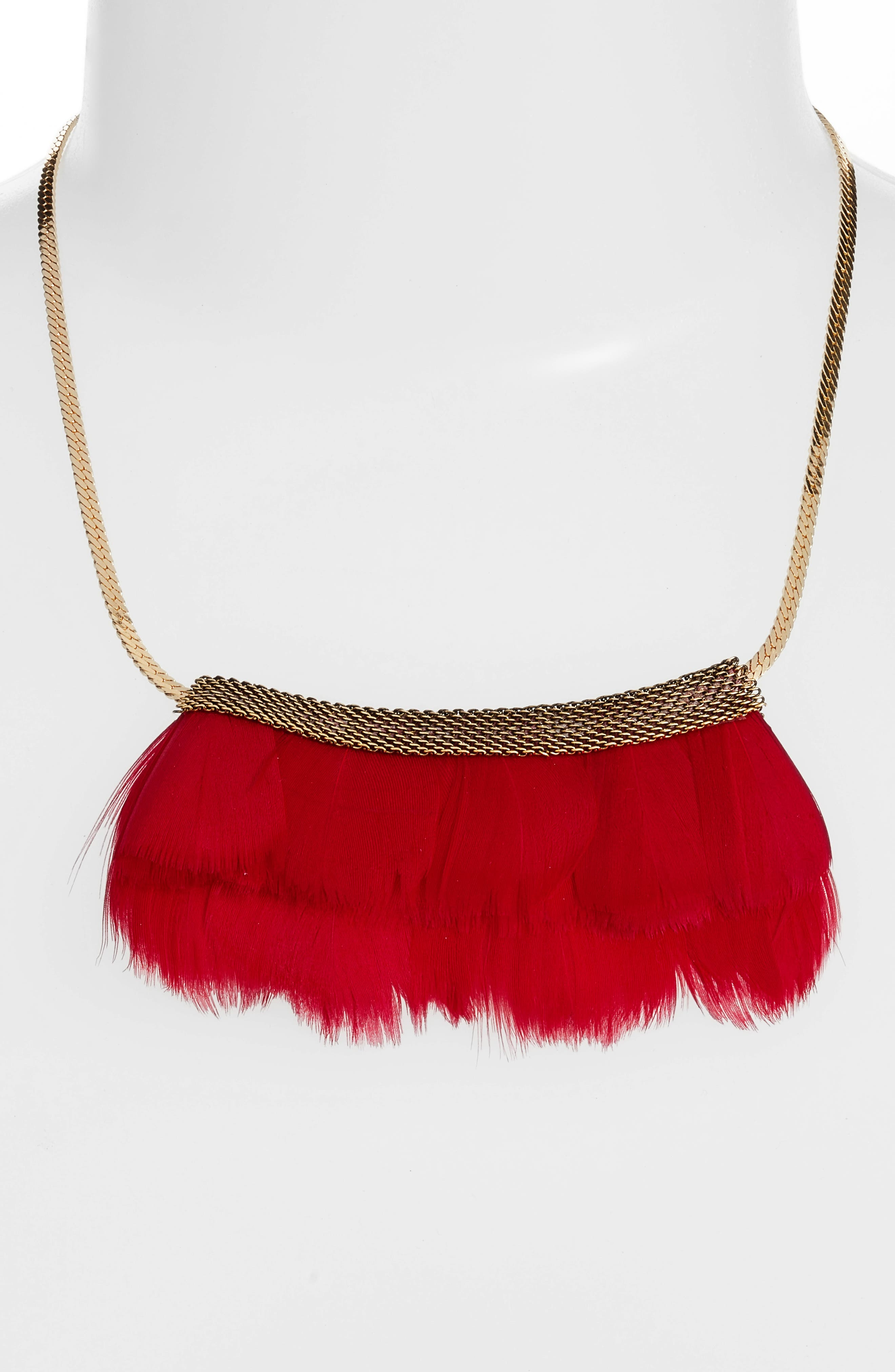 Feather Bib Necklace,                             Alternate thumbnail 2, color,                             Cherry