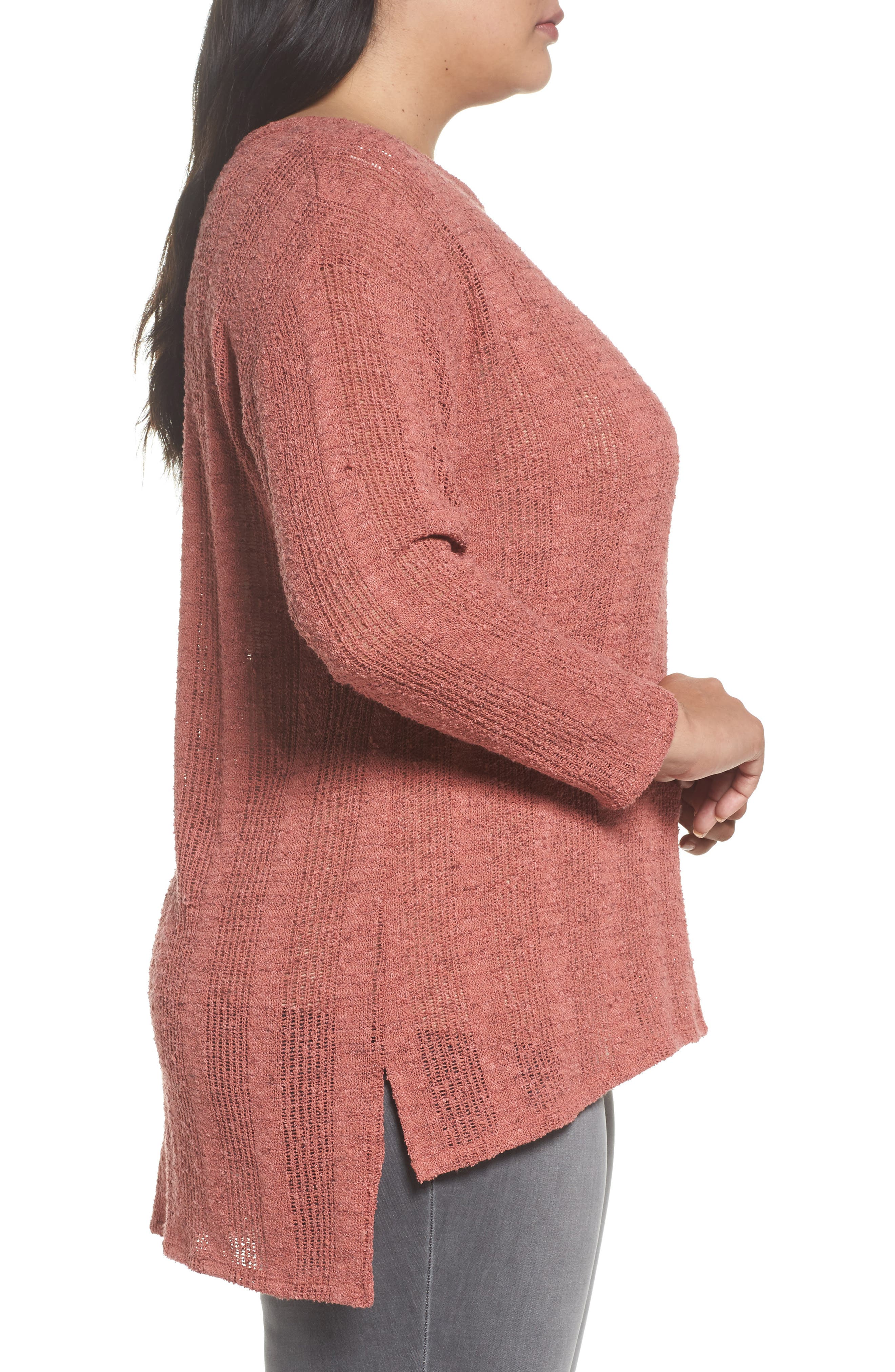 Alternate Image 3  - Two by Vince Camuto Drop Needle Sweater (Plus Size)