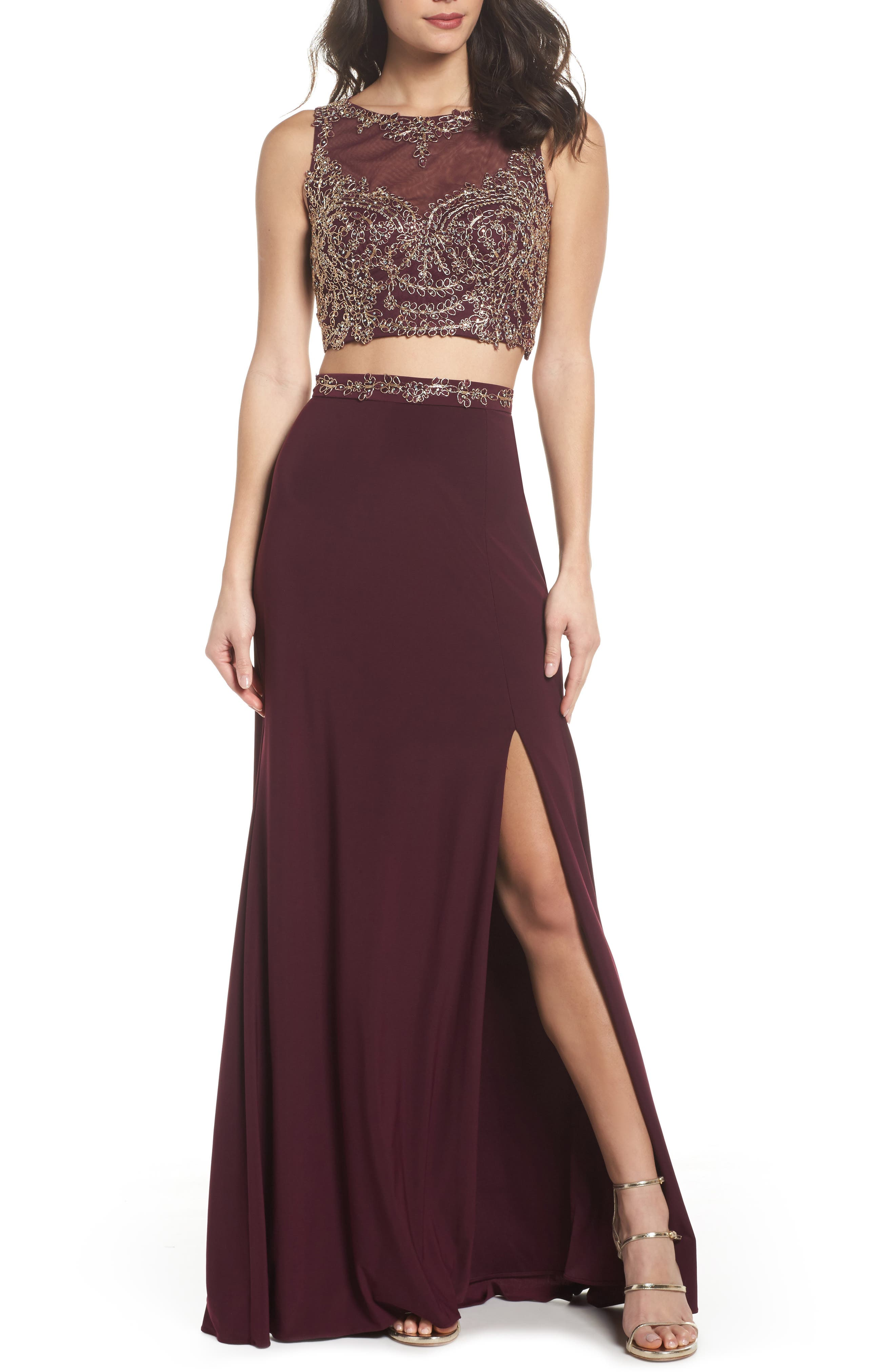 Xscape Embellished Bodice Two-Piece Gown