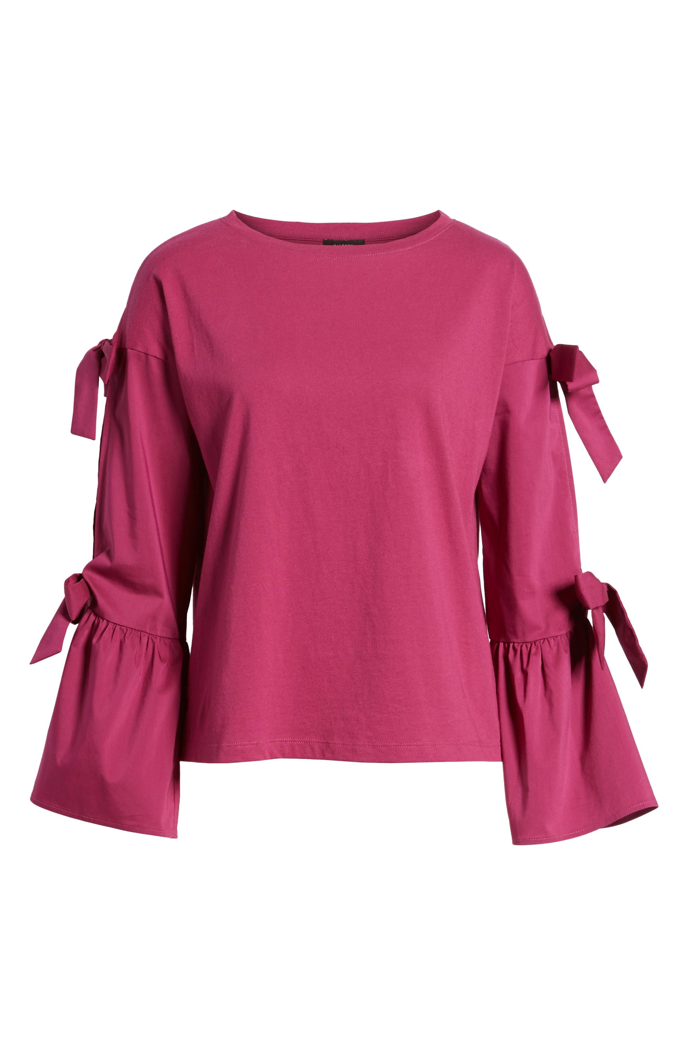 Bow Sleeve Poplin Cotton Top,                             Alternate thumbnail 6, color,                             Purple Boysen