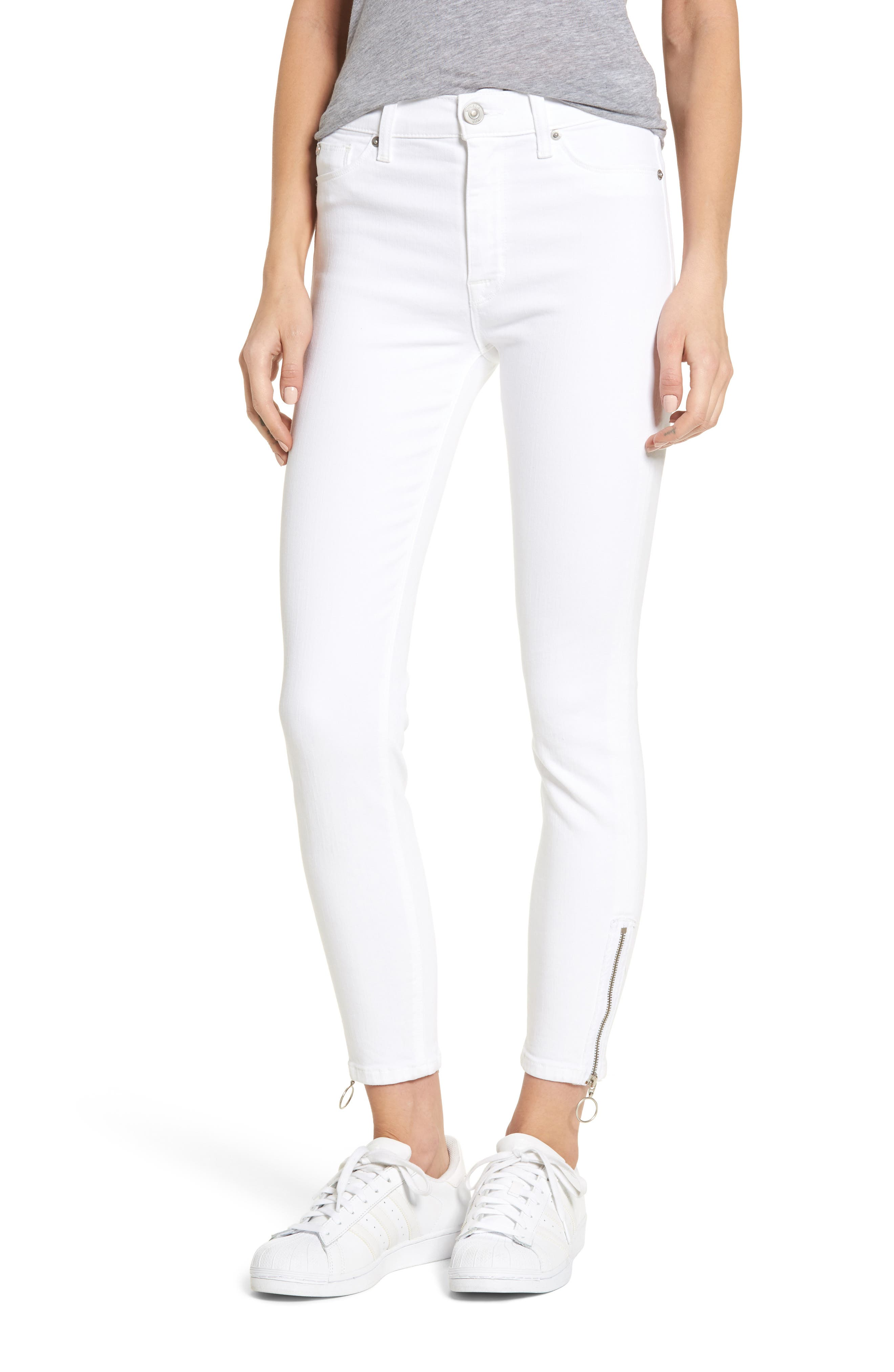 Barbara High Waist Ankle Skinny Jeans,                             Main thumbnail 1, color,                             Optical White