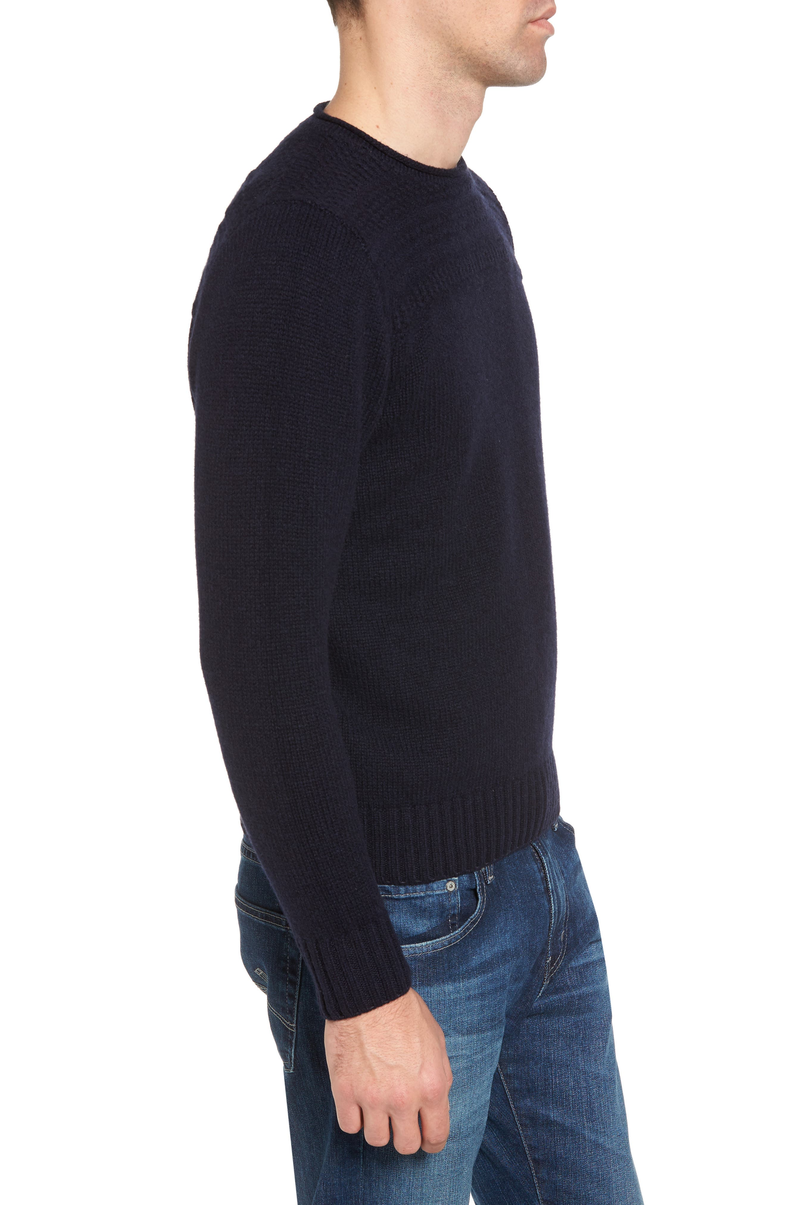 Roll Neck Wool Sweater,                             Alternate thumbnail 3, color,                             Navy