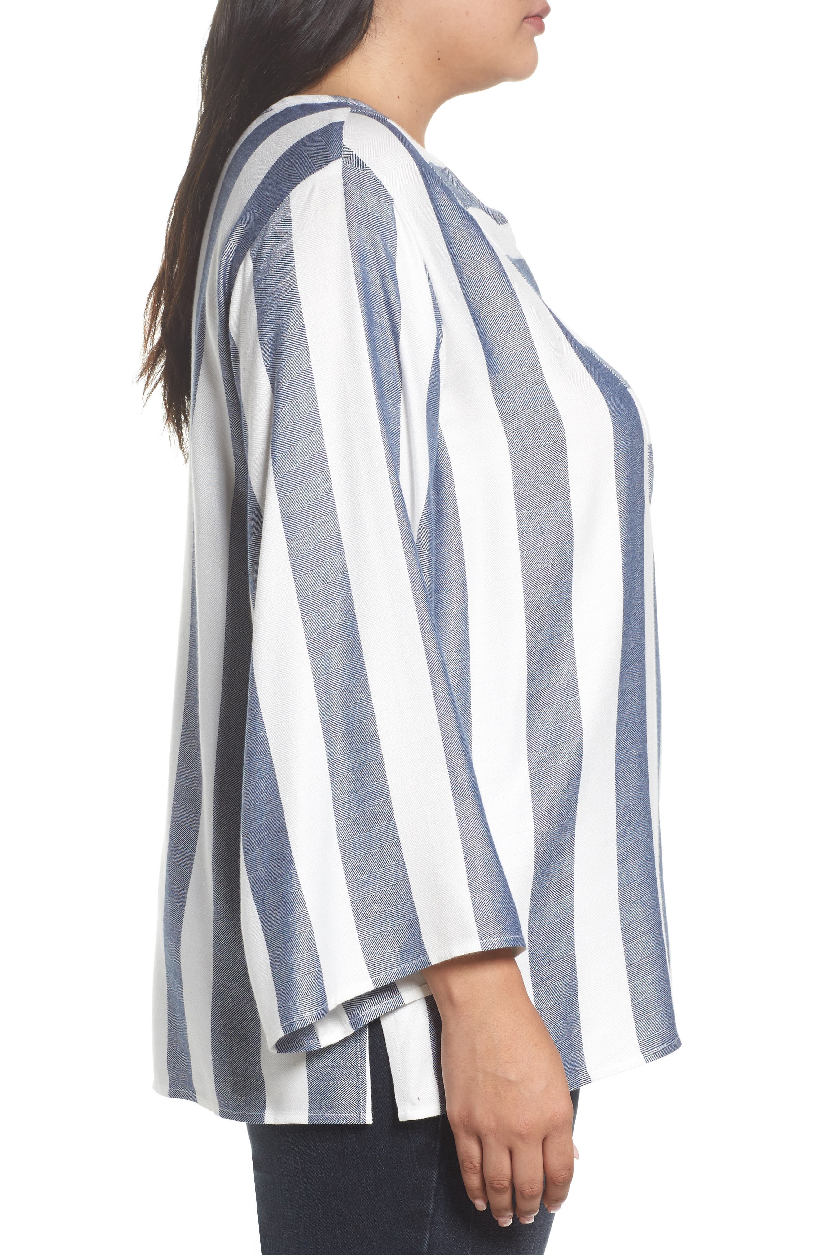 Alternate Image 3  - Two by Vince Camuto Bell Sleeve Stripe Top (Plus Size)