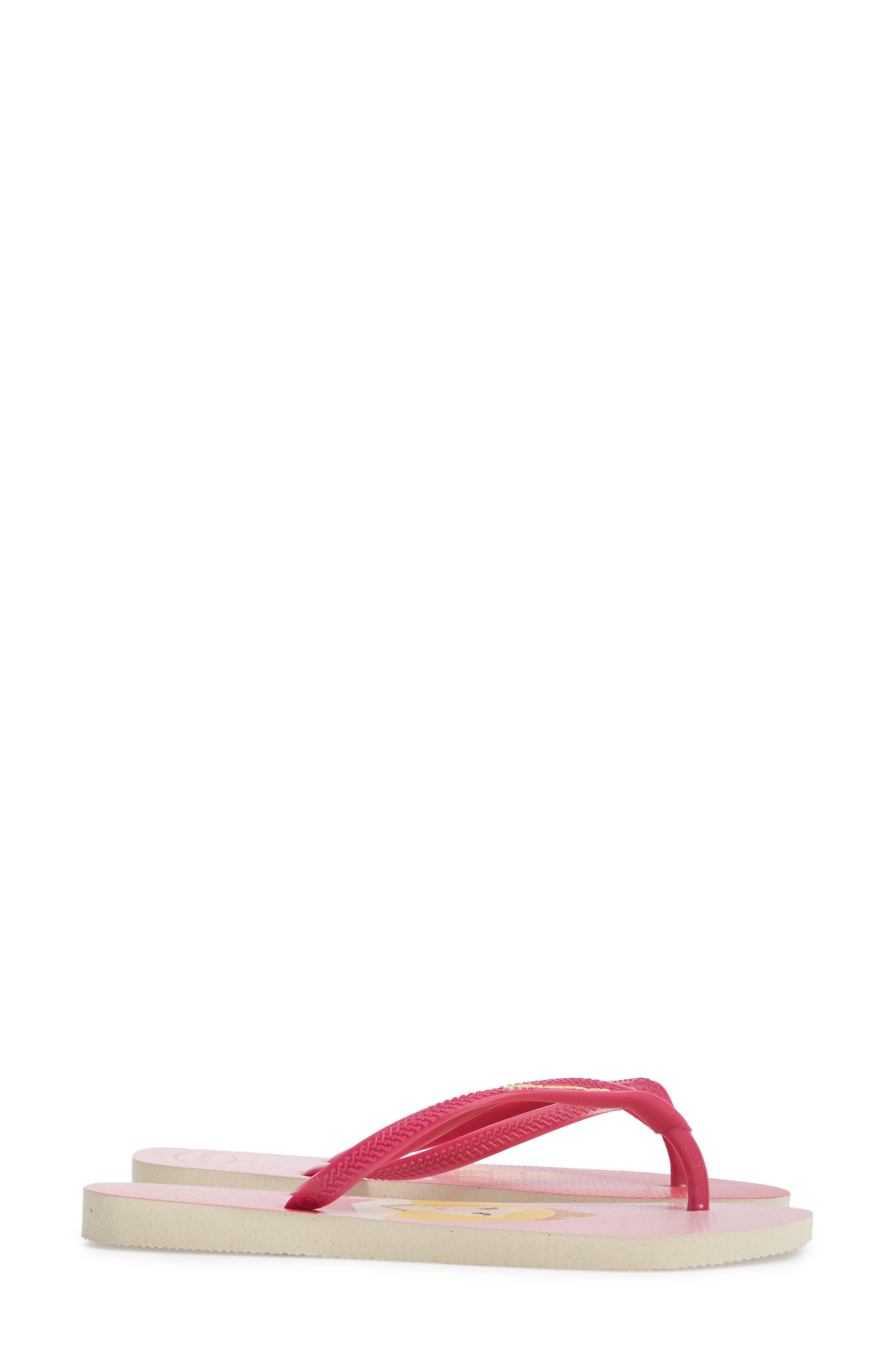 Havaiana Slim - Disney Princess Flip Flop,                             Alternate thumbnail 3, color,                             Beige/ Pink