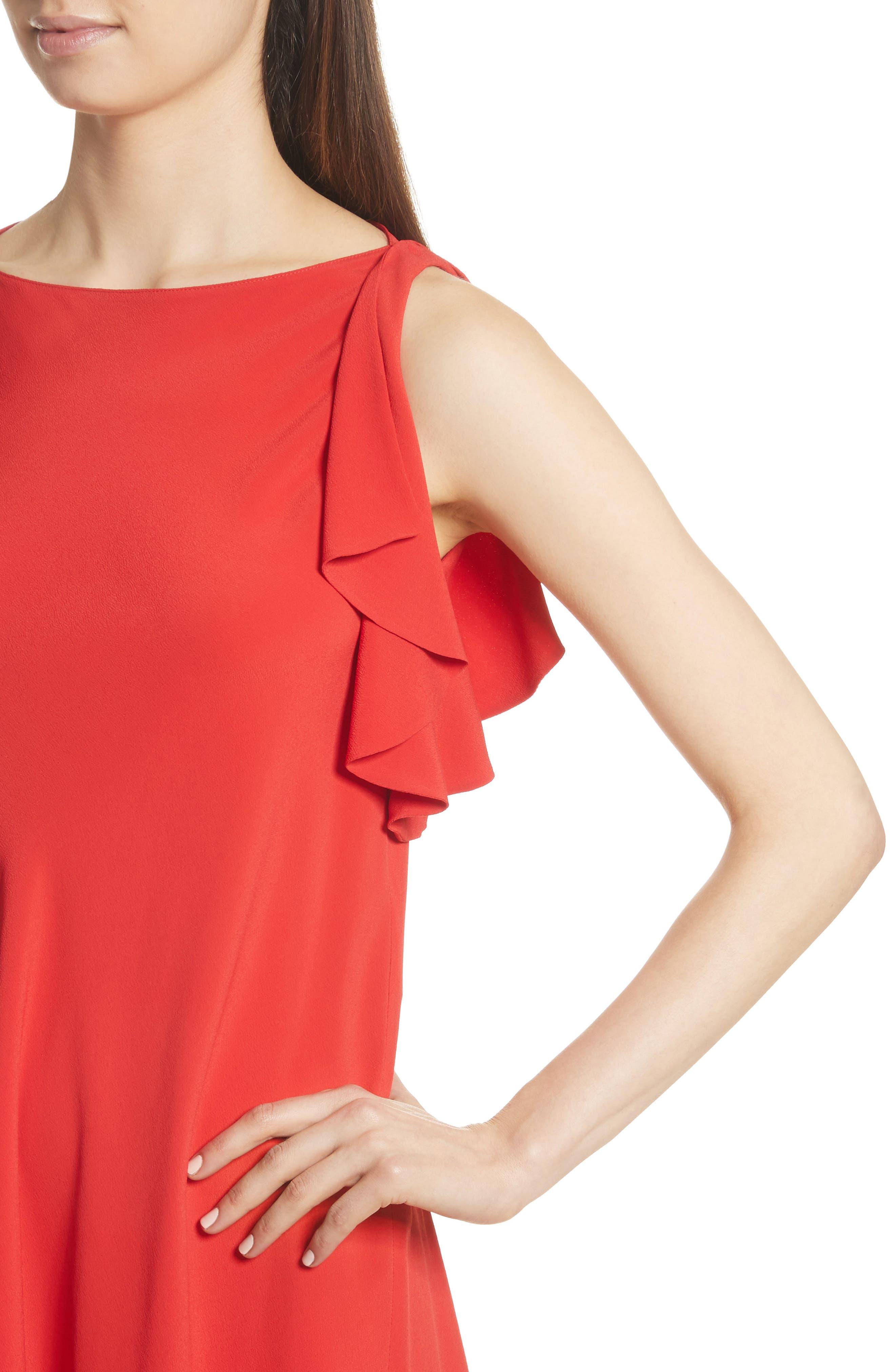 Ruffle Trim A-Line Dress,                             Alternate thumbnail 4, color,                             Red