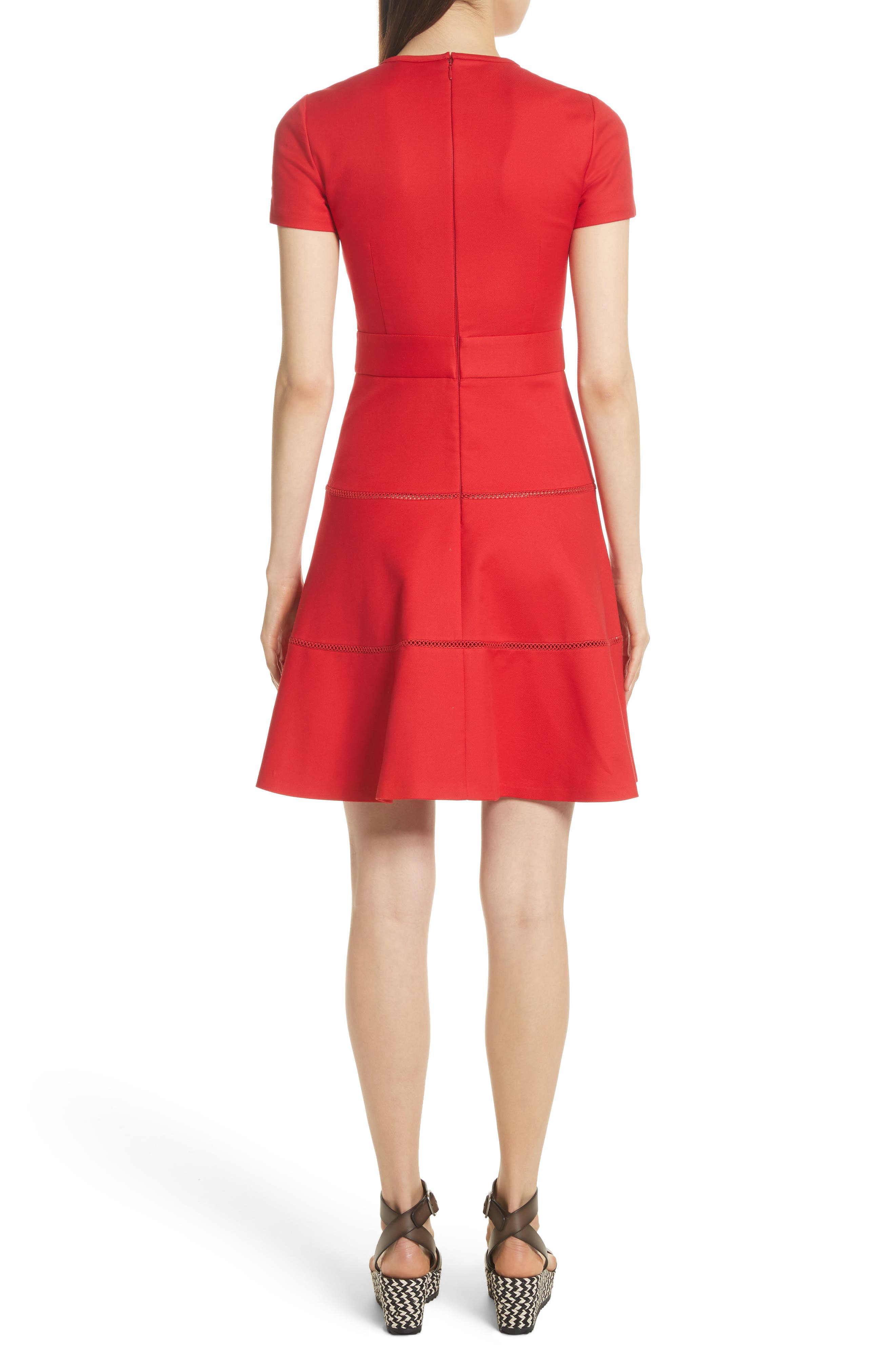 Open Stripe Fit & Flare Dress,                             Alternate thumbnail 2, color,                             Red