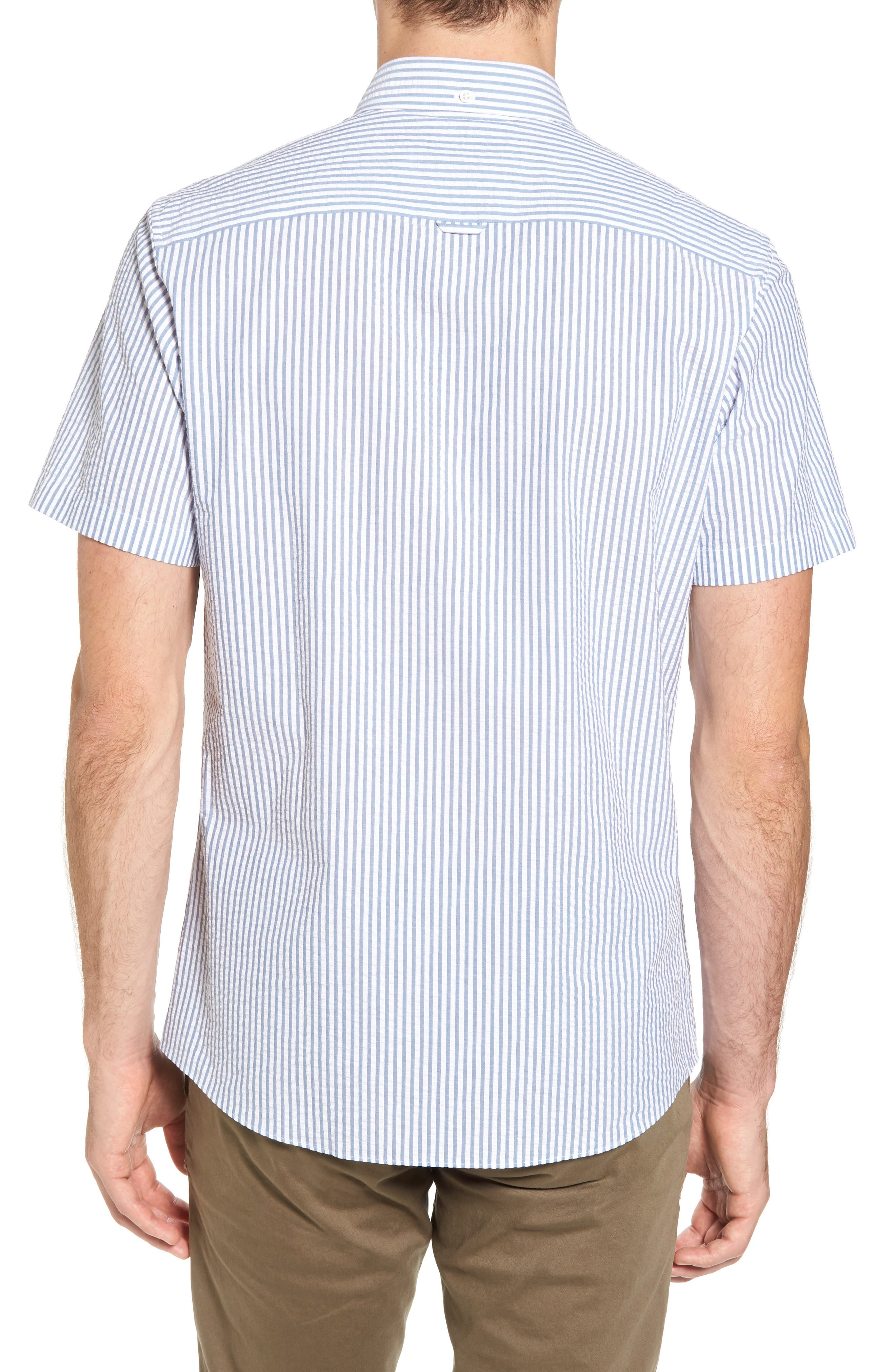 Trim Fit Seersucker Short Sleeve Sport Shirt,                             Alternate thumbnail 3, color,                             White Navy Seersucker Stripe