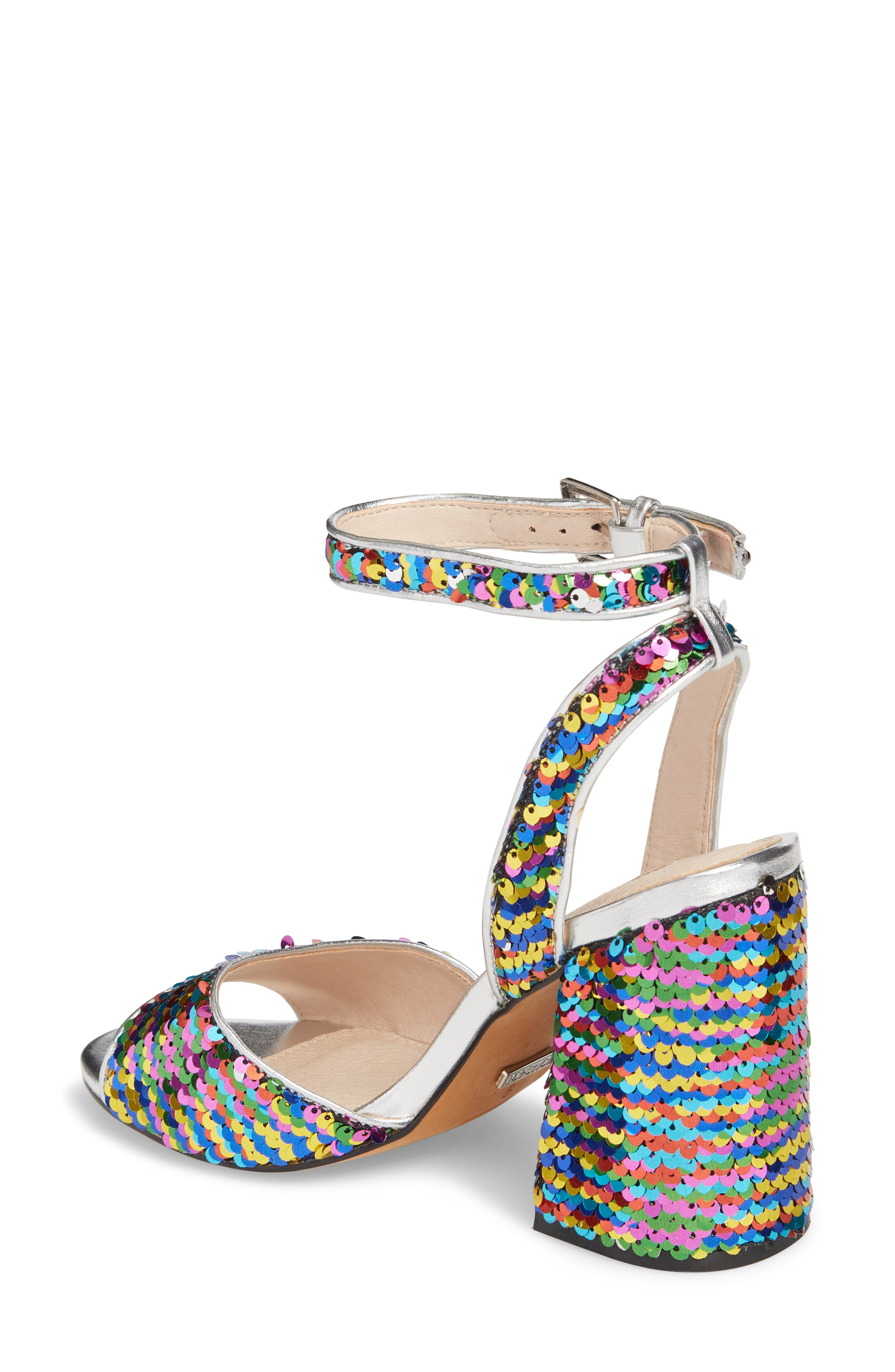 Reaction Sequin Block Heel Sandal,                             Alternate thumbnail 2, color,                             Silver Multi