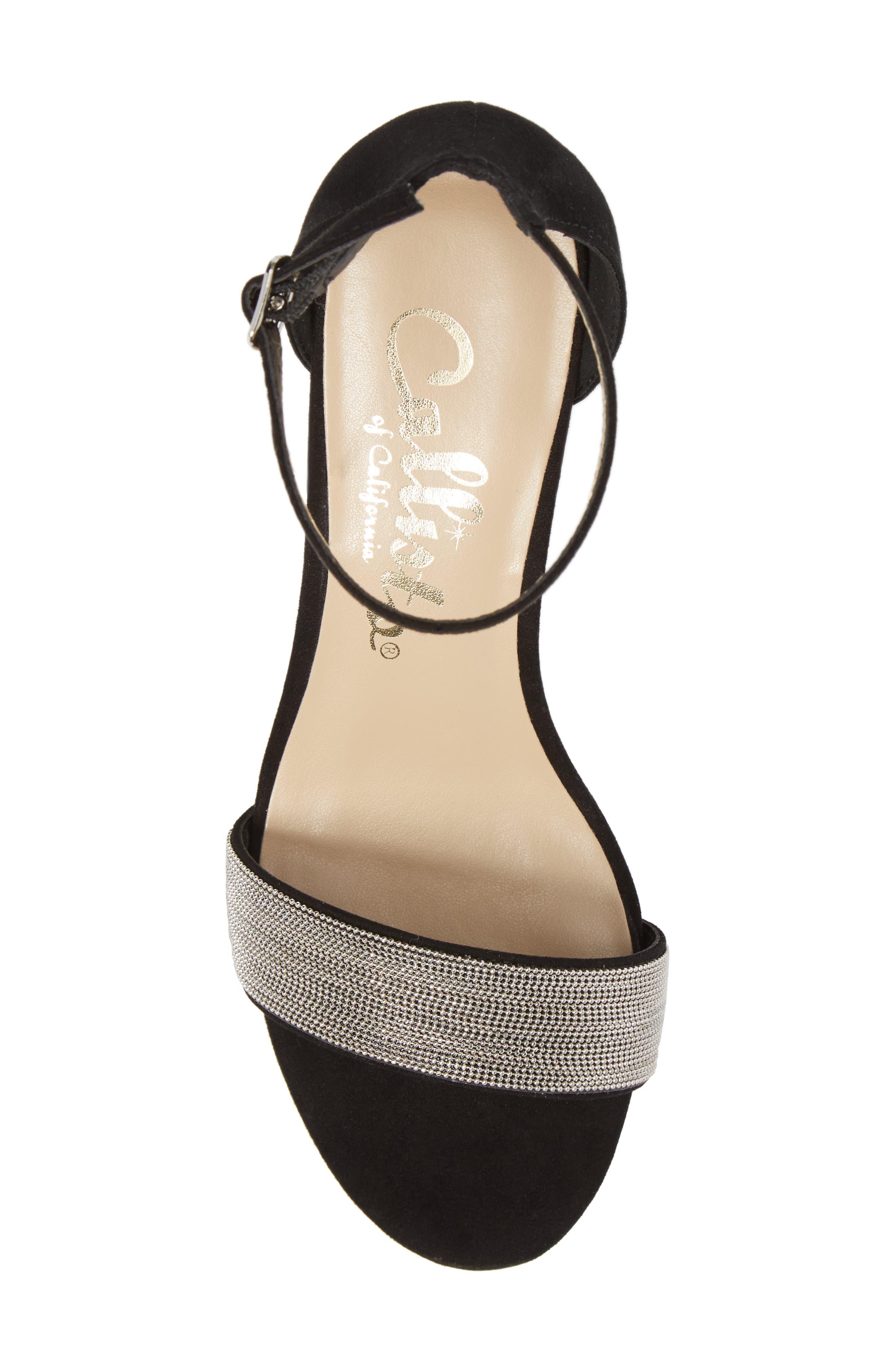 Jazmine Ankle Strap Sandal,                             Alternate thumbnail 5, color,                             Black Suede