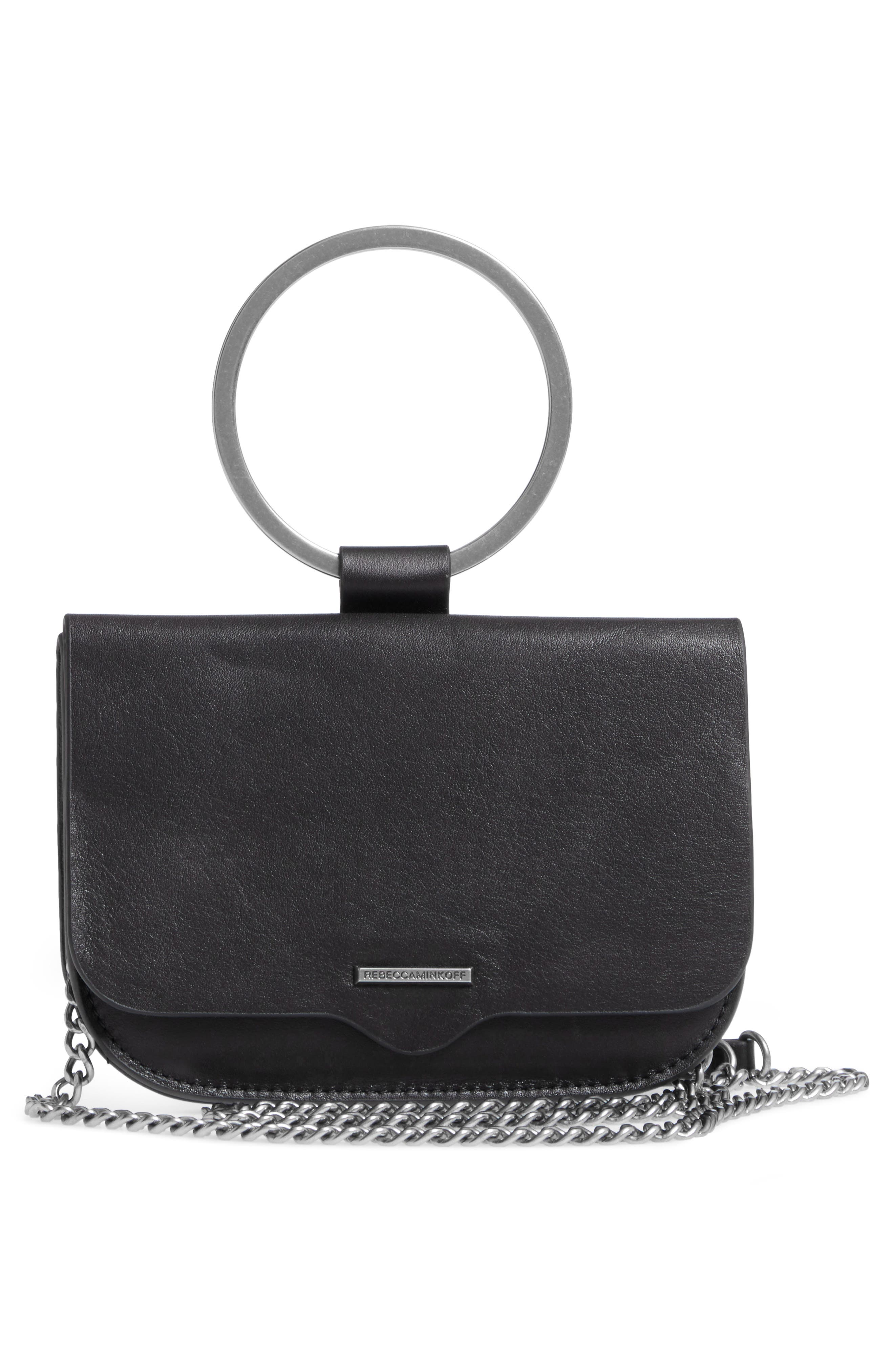 Ring Leather Crossbody Bag,                             Alternate thumbnail 3, color,                             Black