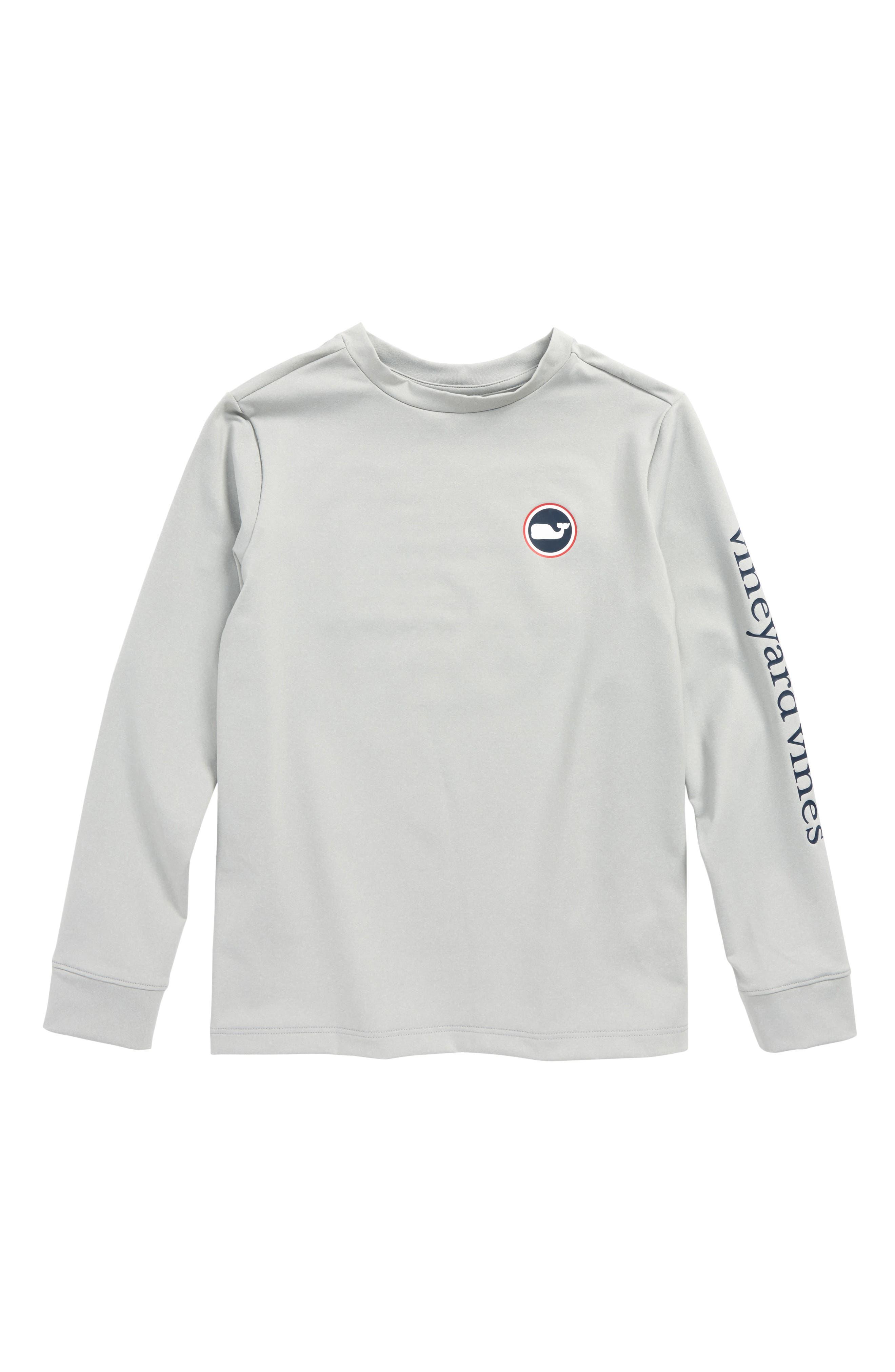 Whale Dot Performance T-Shirt,                             Main thumbnail 1, color,                             Gray Heather