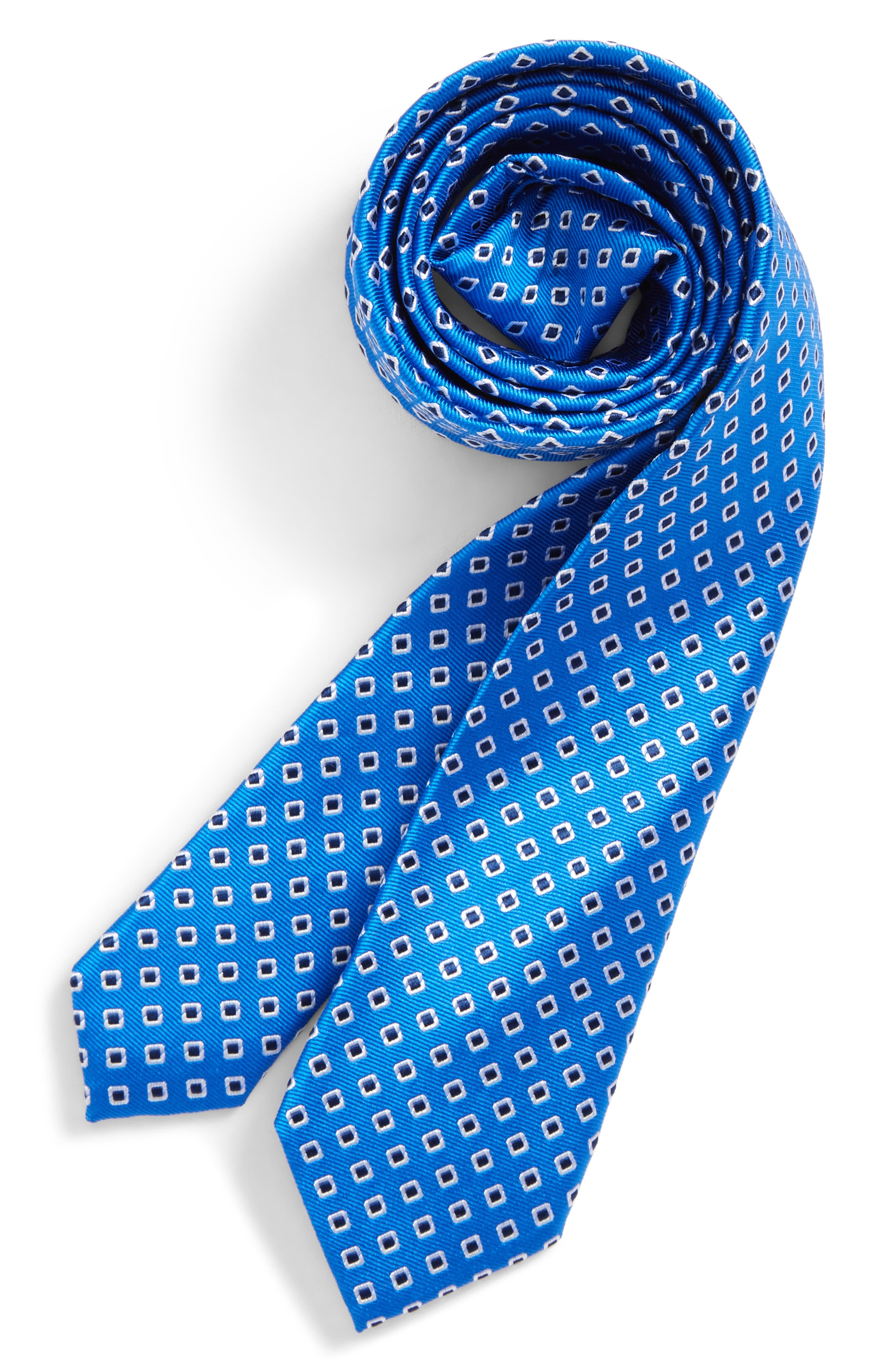 Medallion Silk Tie,                         Main,                         color, Royal- Black