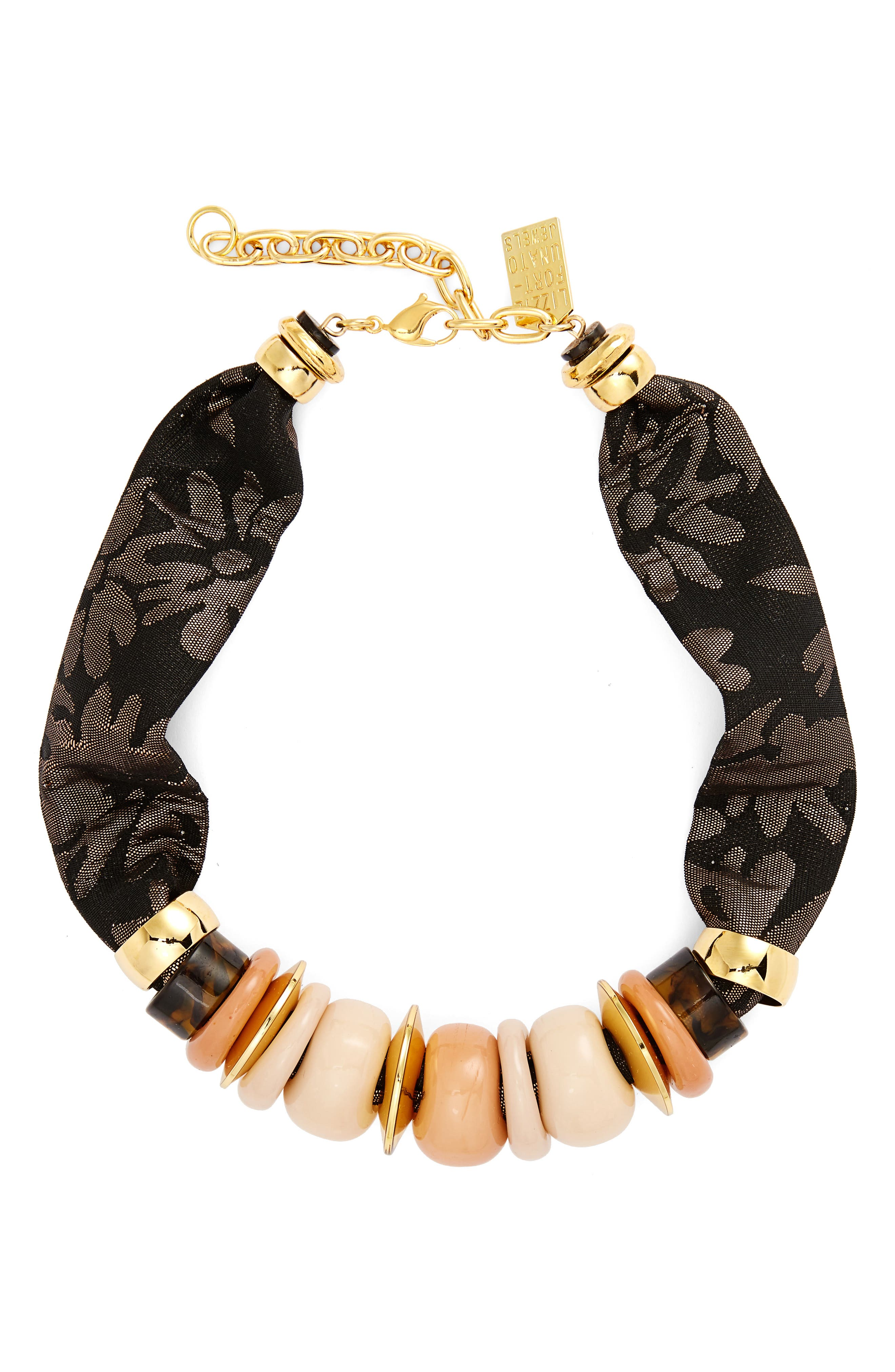 Nazare Beaded Necklace,                         Main,                         color, Gold Multi