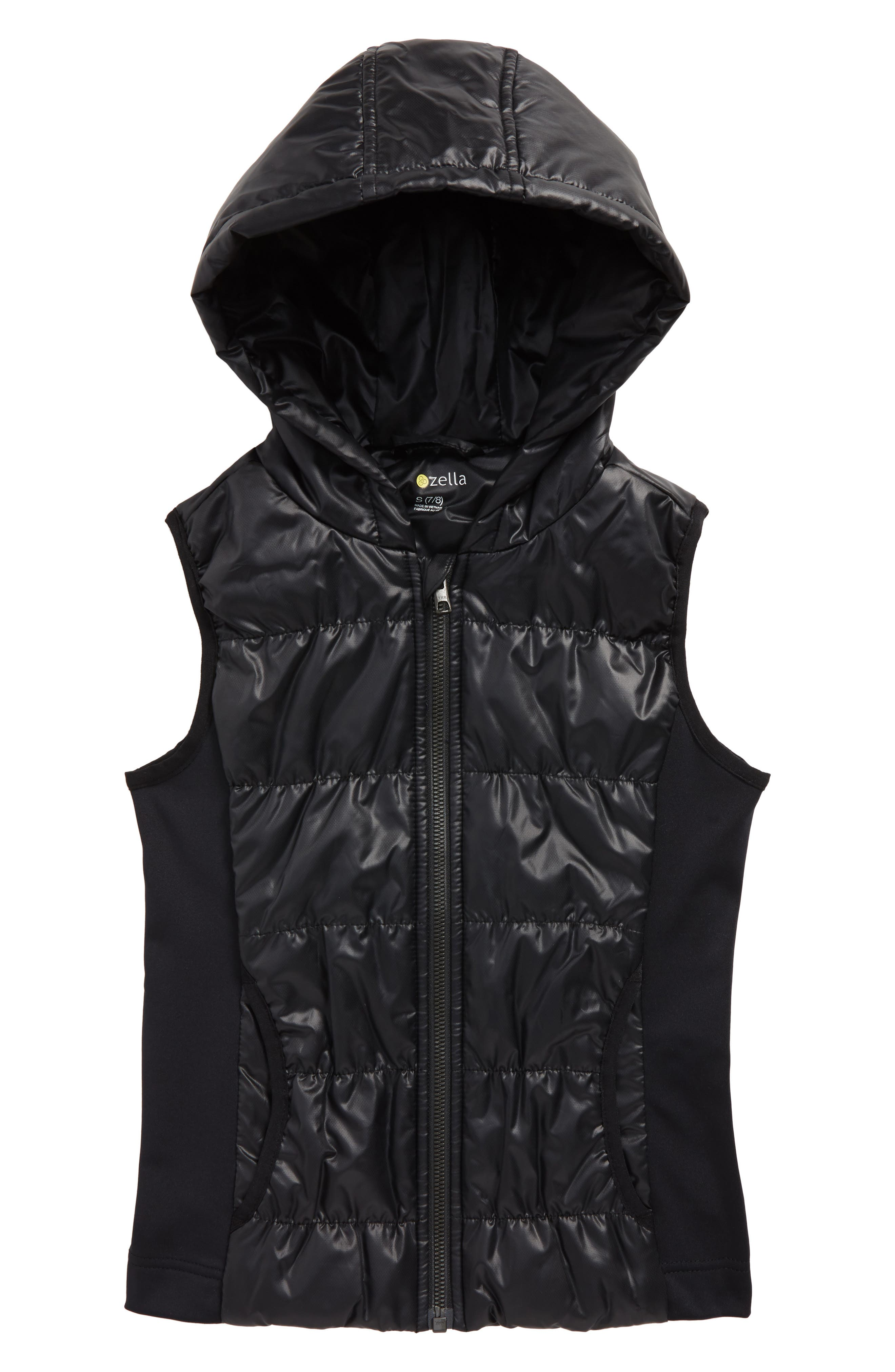 Zella Shine Quilted Hooded Vest,                             Main thumbnail 1, color,                             Black