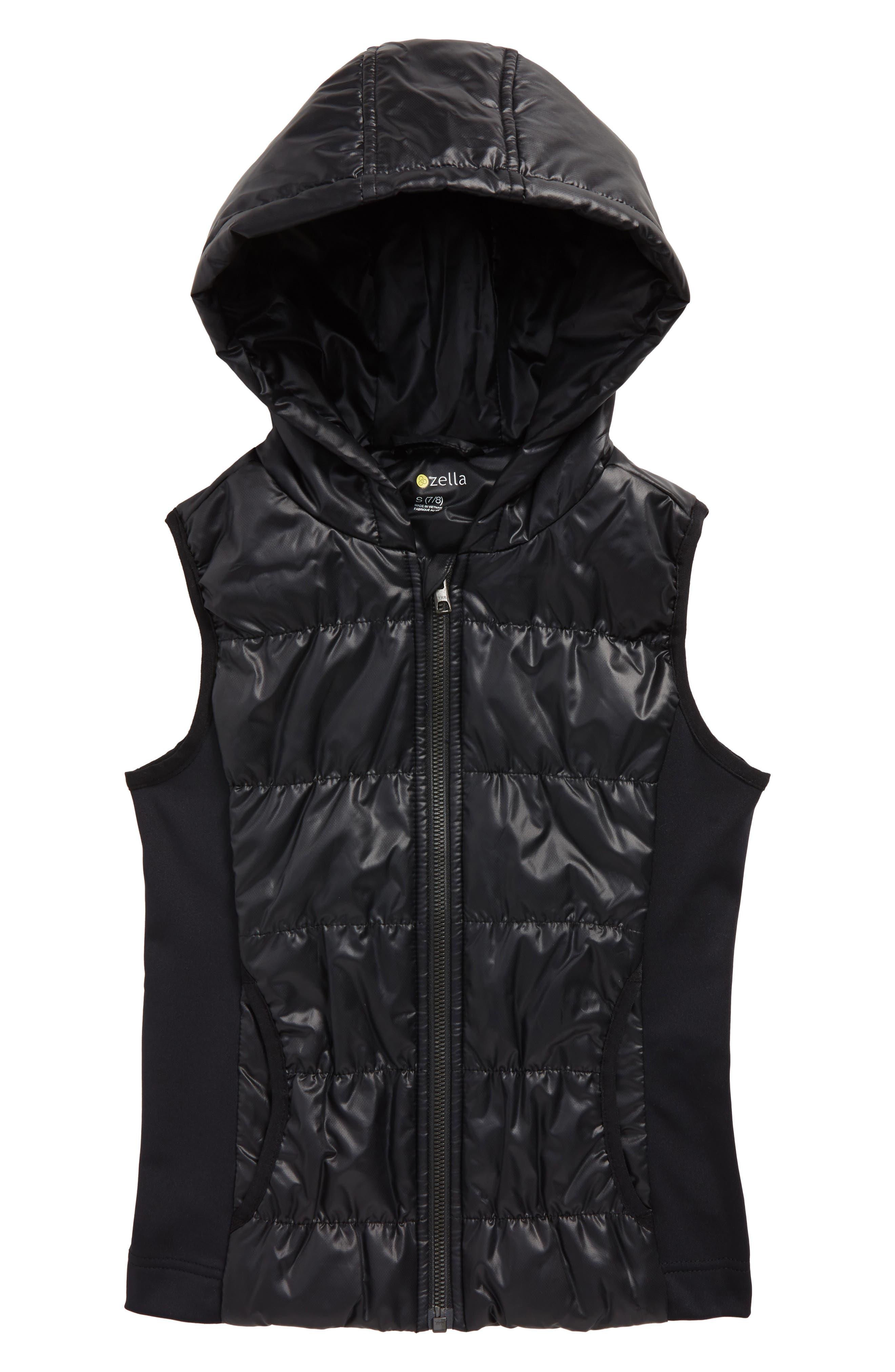Zella Shine Quilted Hooded Vest,                         Main,                         color, Black