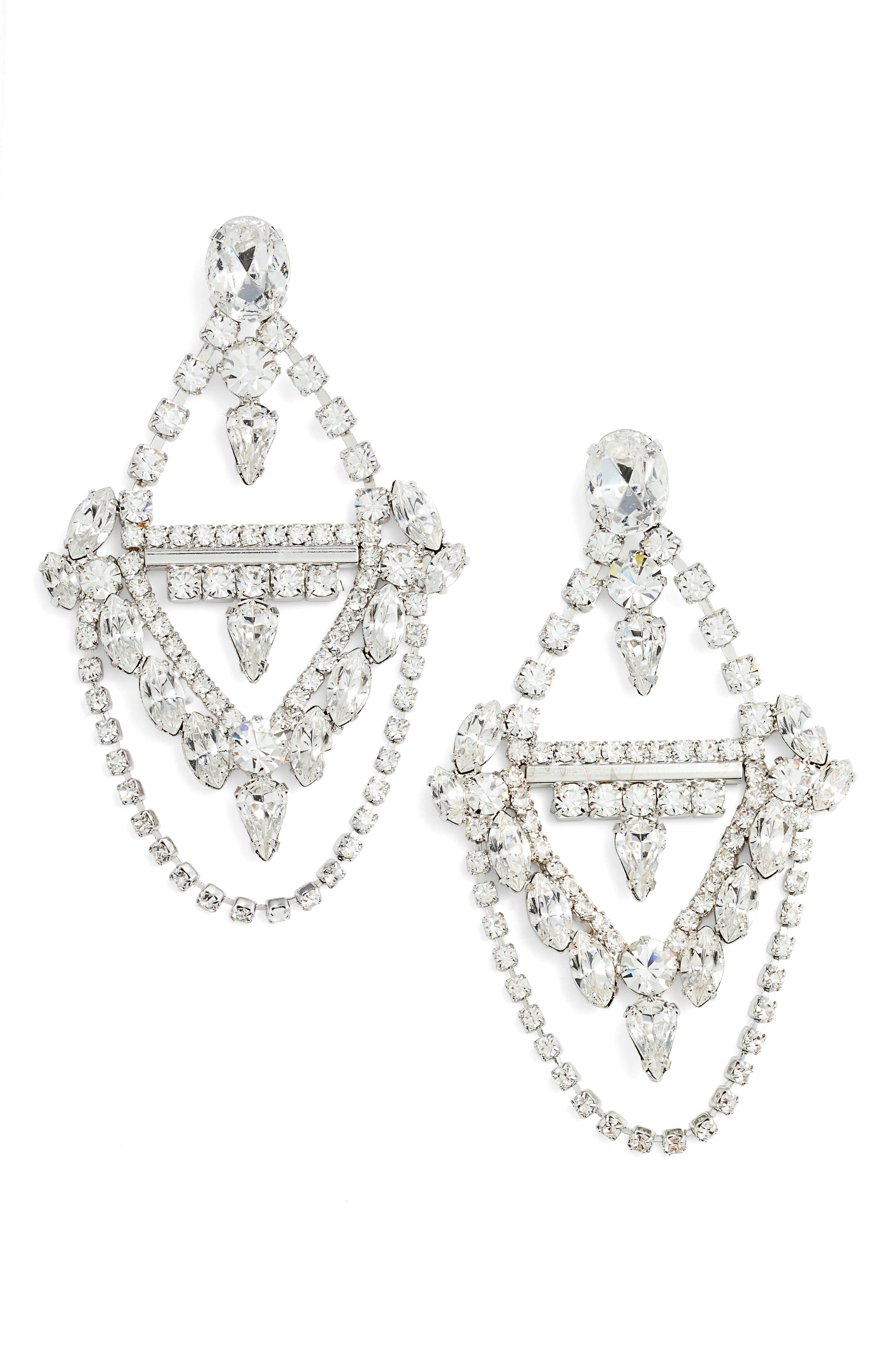 Crystal Chandelier Earrings,                             Main thumbnail 1, color,                             Silver
