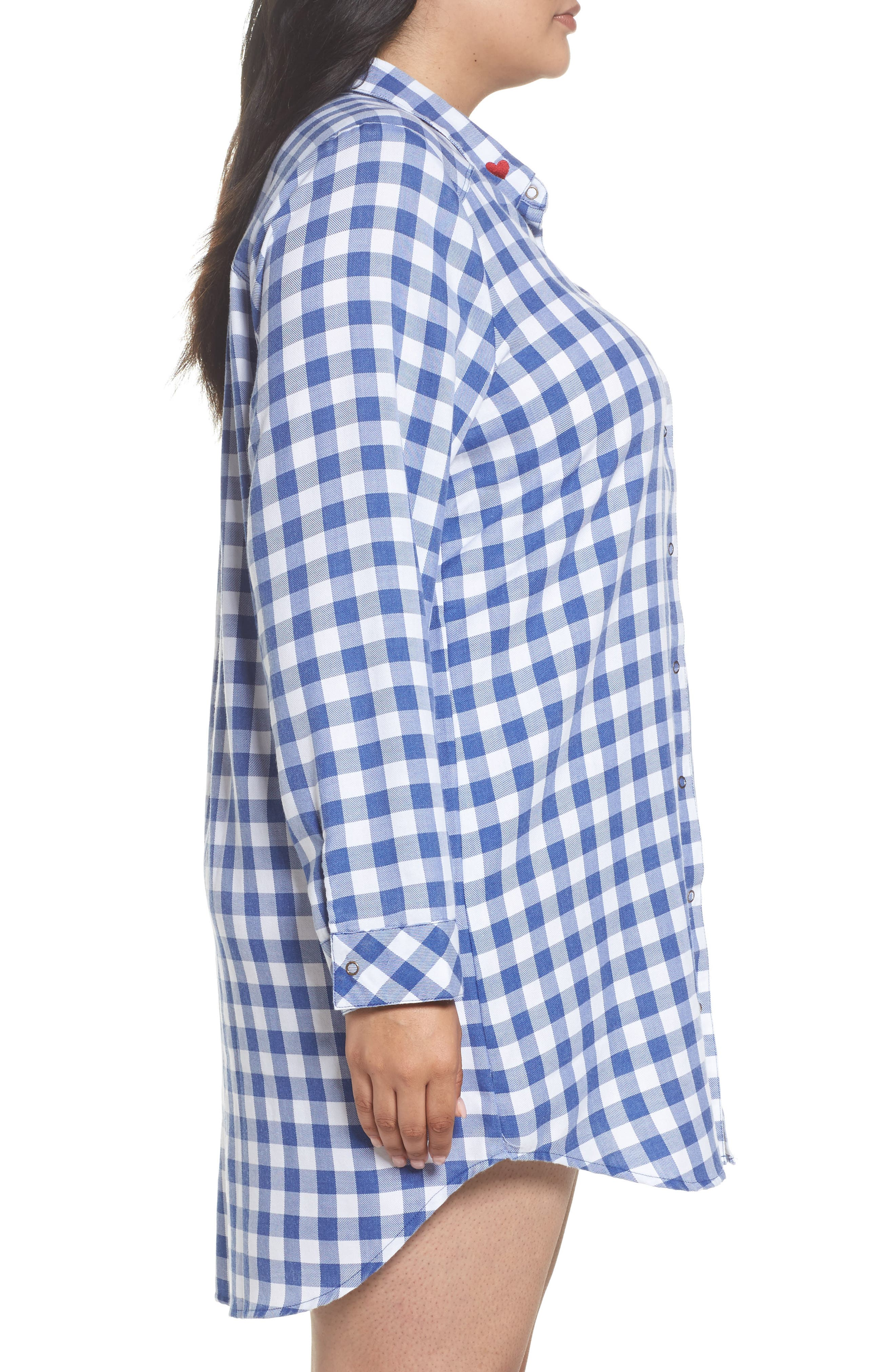 Alternate Image 3  - Make + Model Plaid Night Shirt (Plus Size)