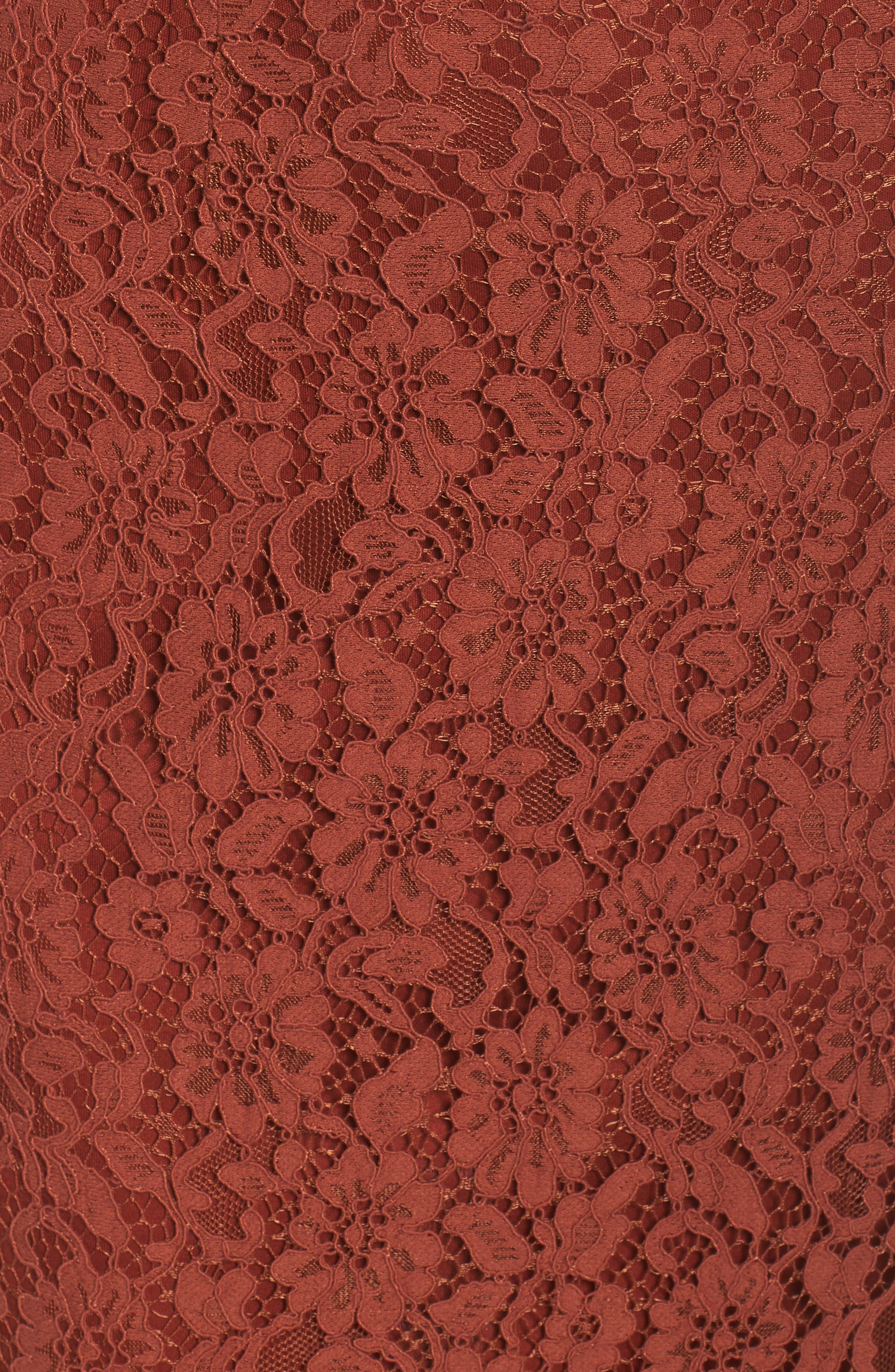 Lace Off the Shoulder Midi Dress,                             Alternate thumbnail 5, color,                             Cinnabar