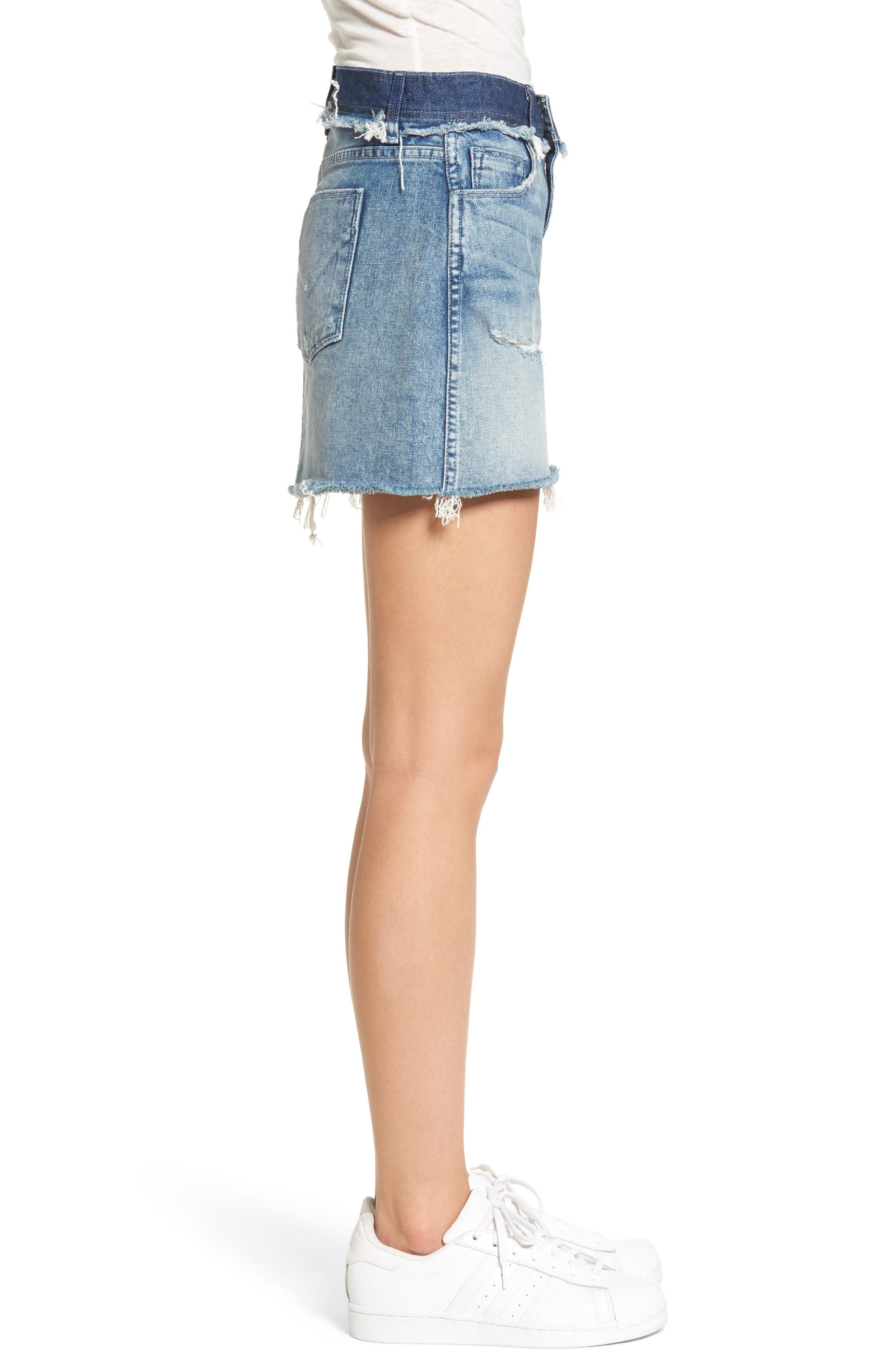 Vivid Cutoff Denim Miniskirt,                             Alternate thumbnail 3, color,                             Rock Steady