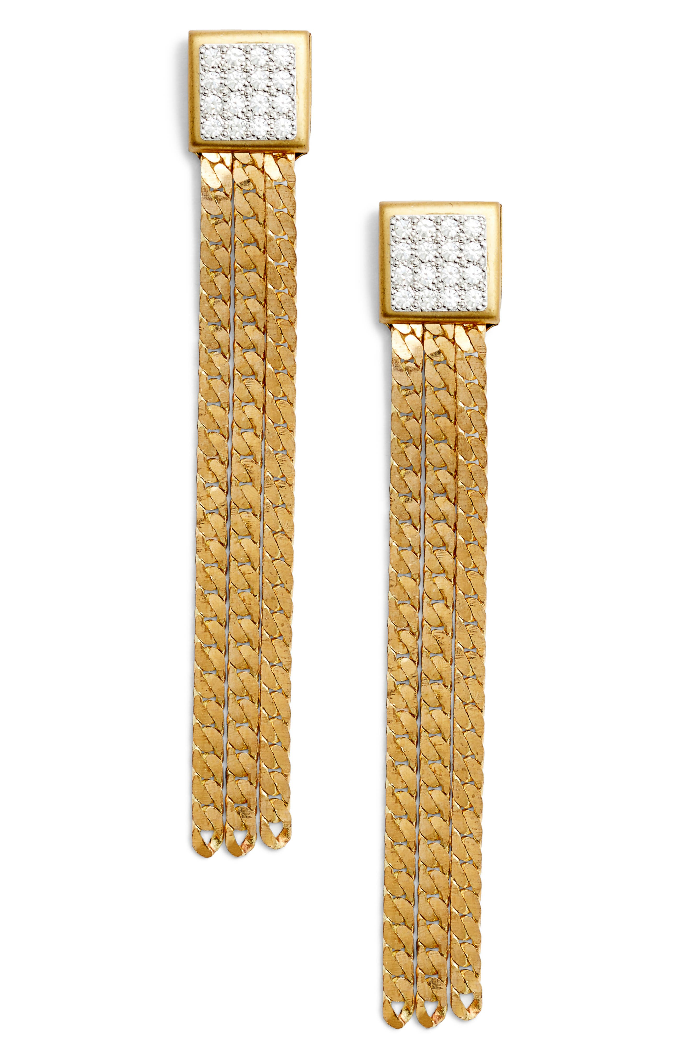 Chain Earrings,                         Main,                         color, Gold/ Crystal