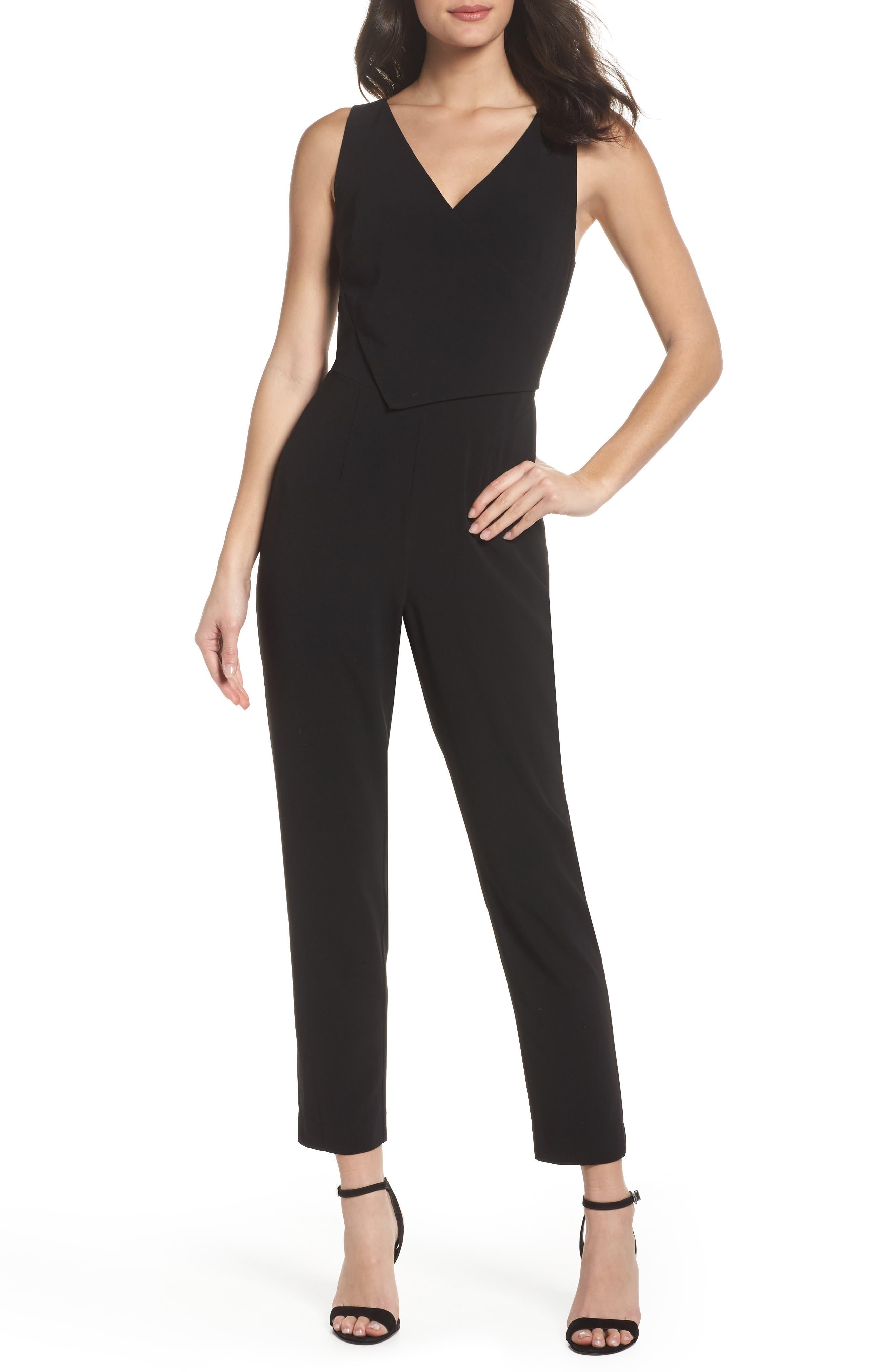 Asymmetrical Pleat Jumpsuit,                         Main,                         color, Black