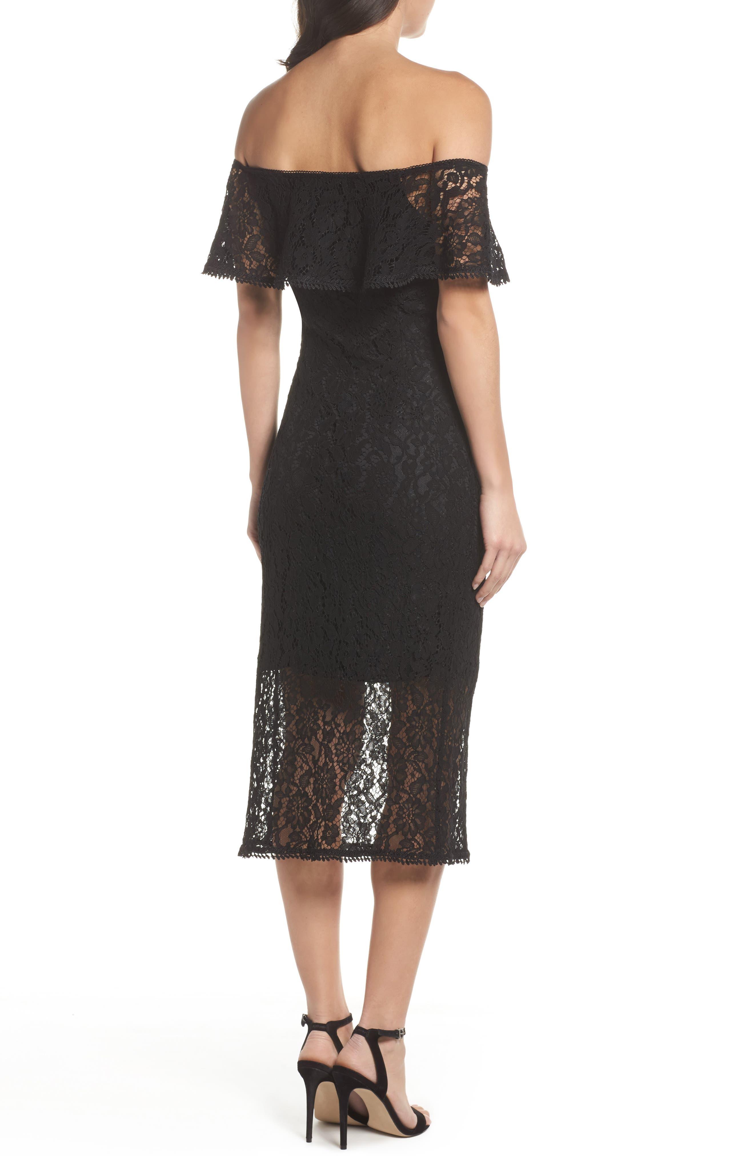 Alternate Image 2  - NSR Lace Off the Shoulder Midi Dress