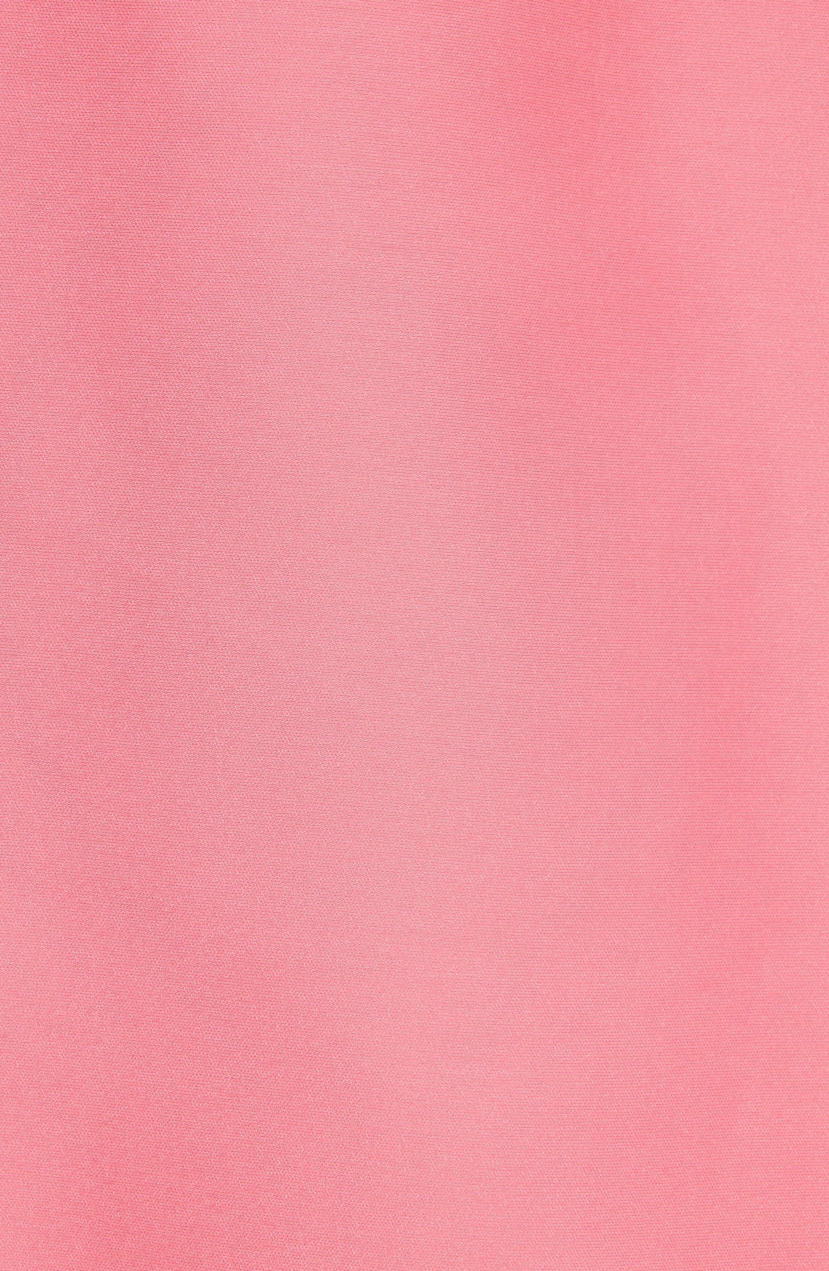 floral lace trim mikado fit & flare dress,                             Alternate thumbnail 5, color,                             Petunia