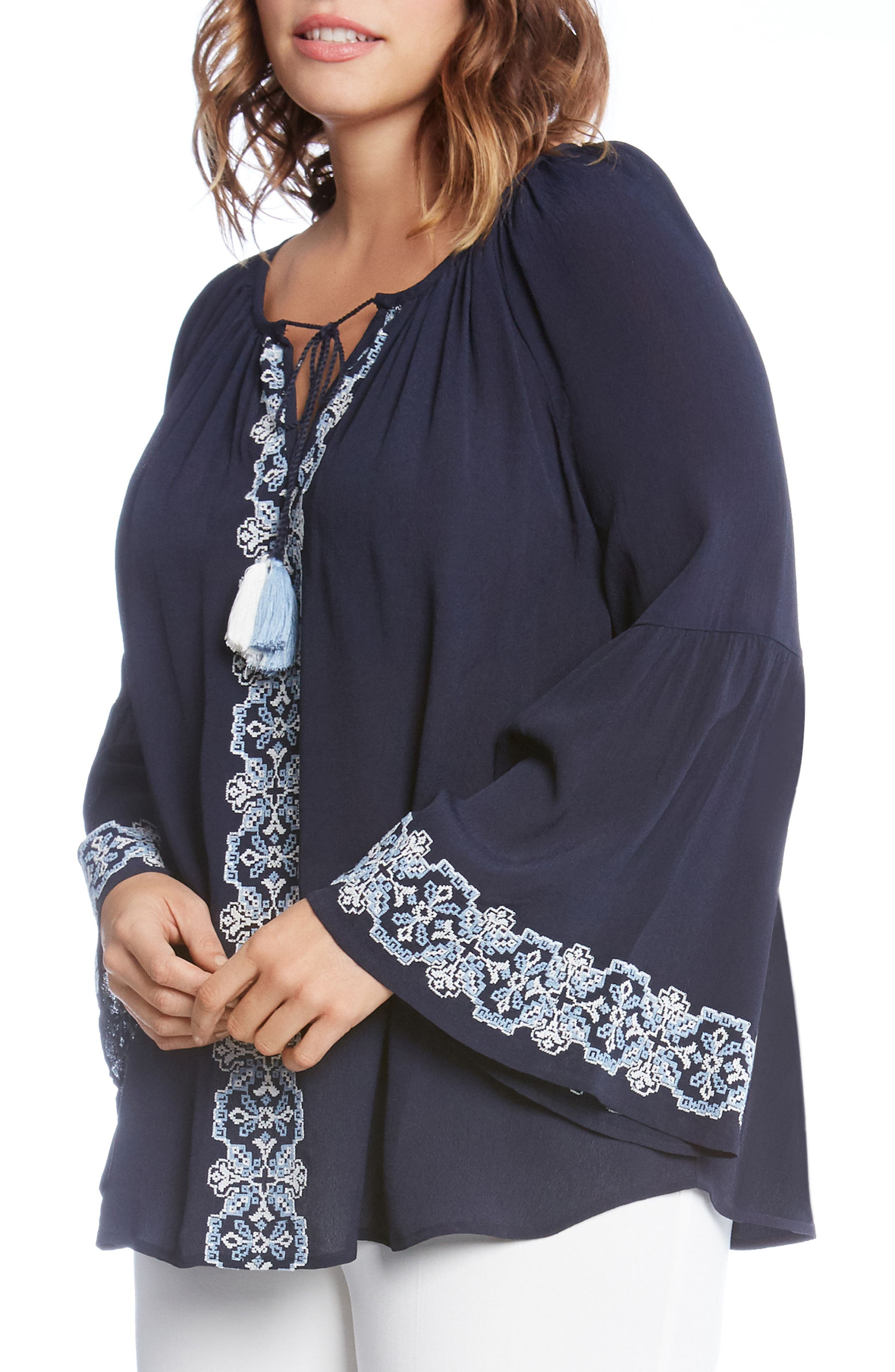 Double Tassel Embroidered Top,                             Alternate thumbnail 3, color,                             Navy