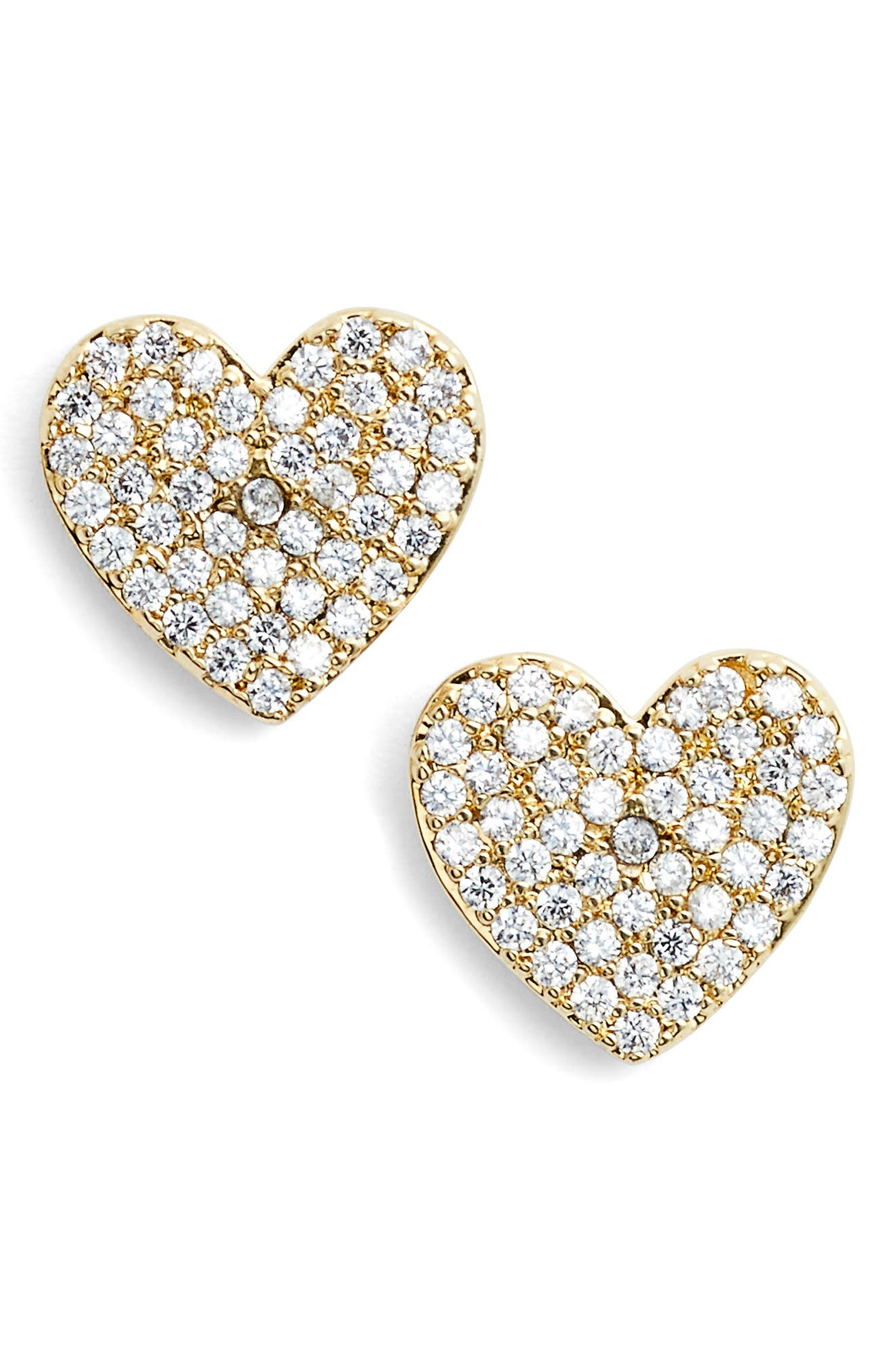 yours truly pave heart stud earrings,                         Main,                         color, Gold