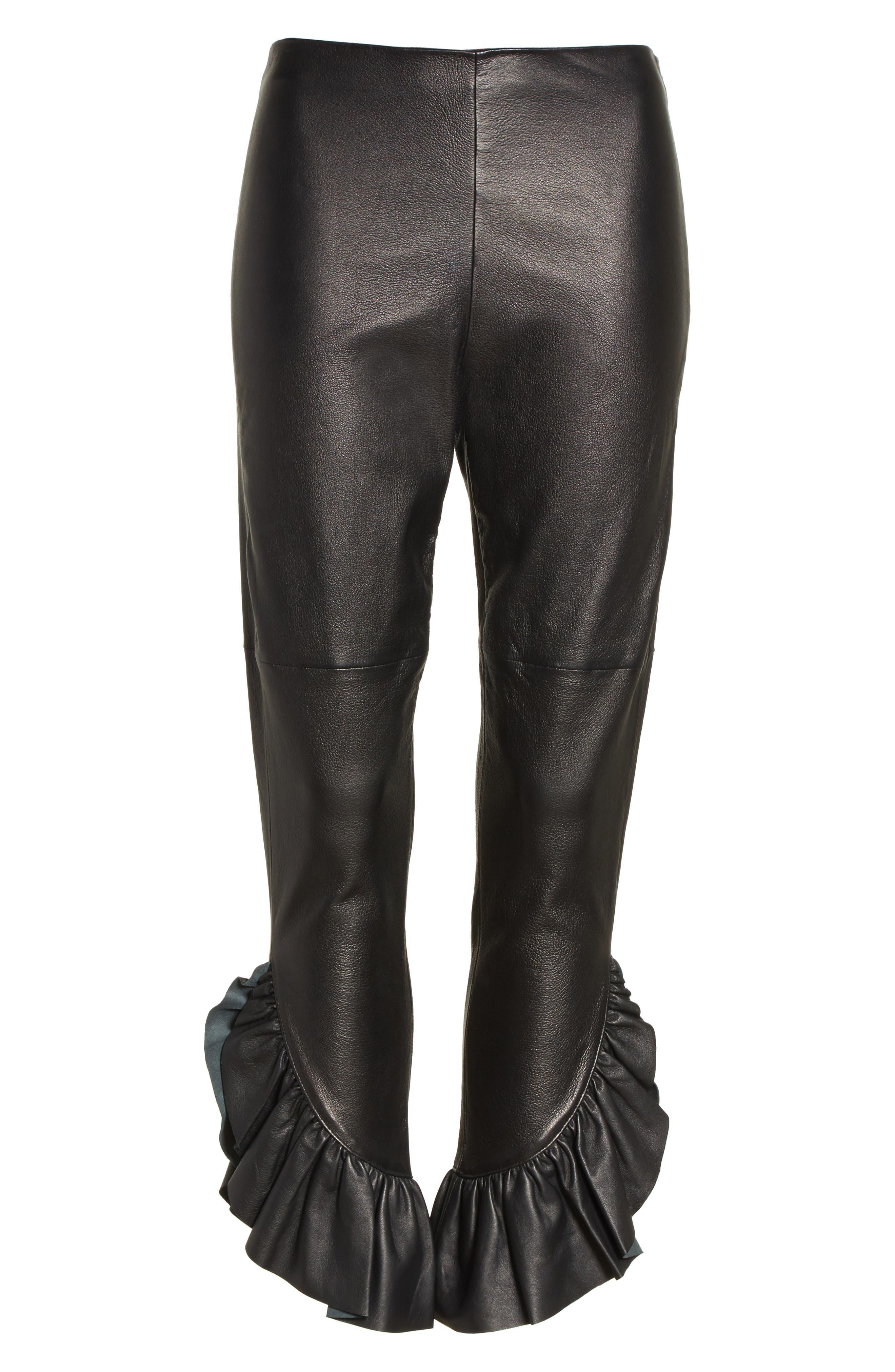 Gionata Ruffle Hem Leather Pants,                             Alternate thumbnail 6, color,                             Black