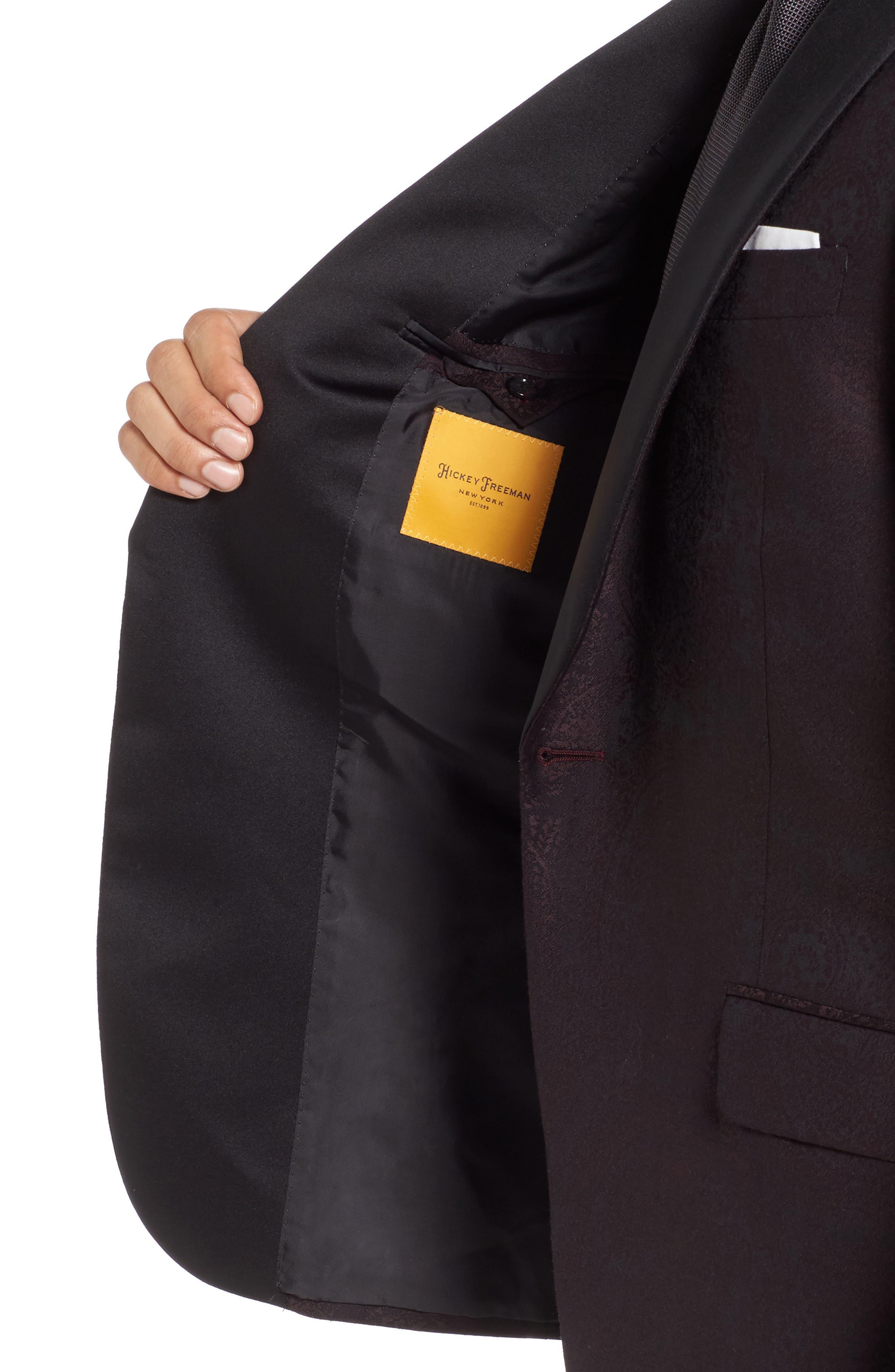 Classic Fit Paisley Wool Dinner Jacket,                             Alternate thumbnail 4, color,                             Dark Purple