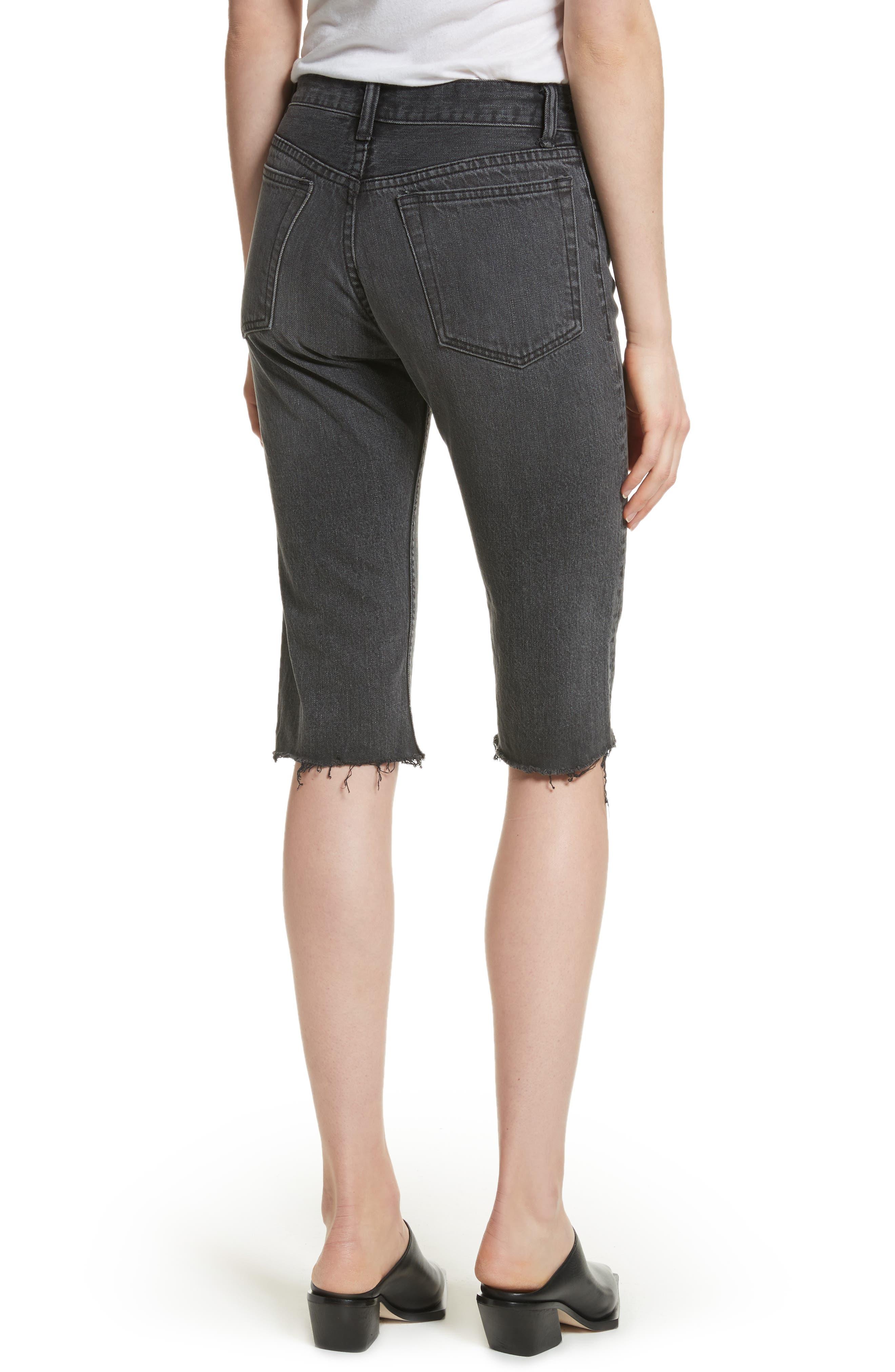 Cutoff Knee Length Denim Shorts,                             Alternate thumbnail 2, color,                             Rigid Black