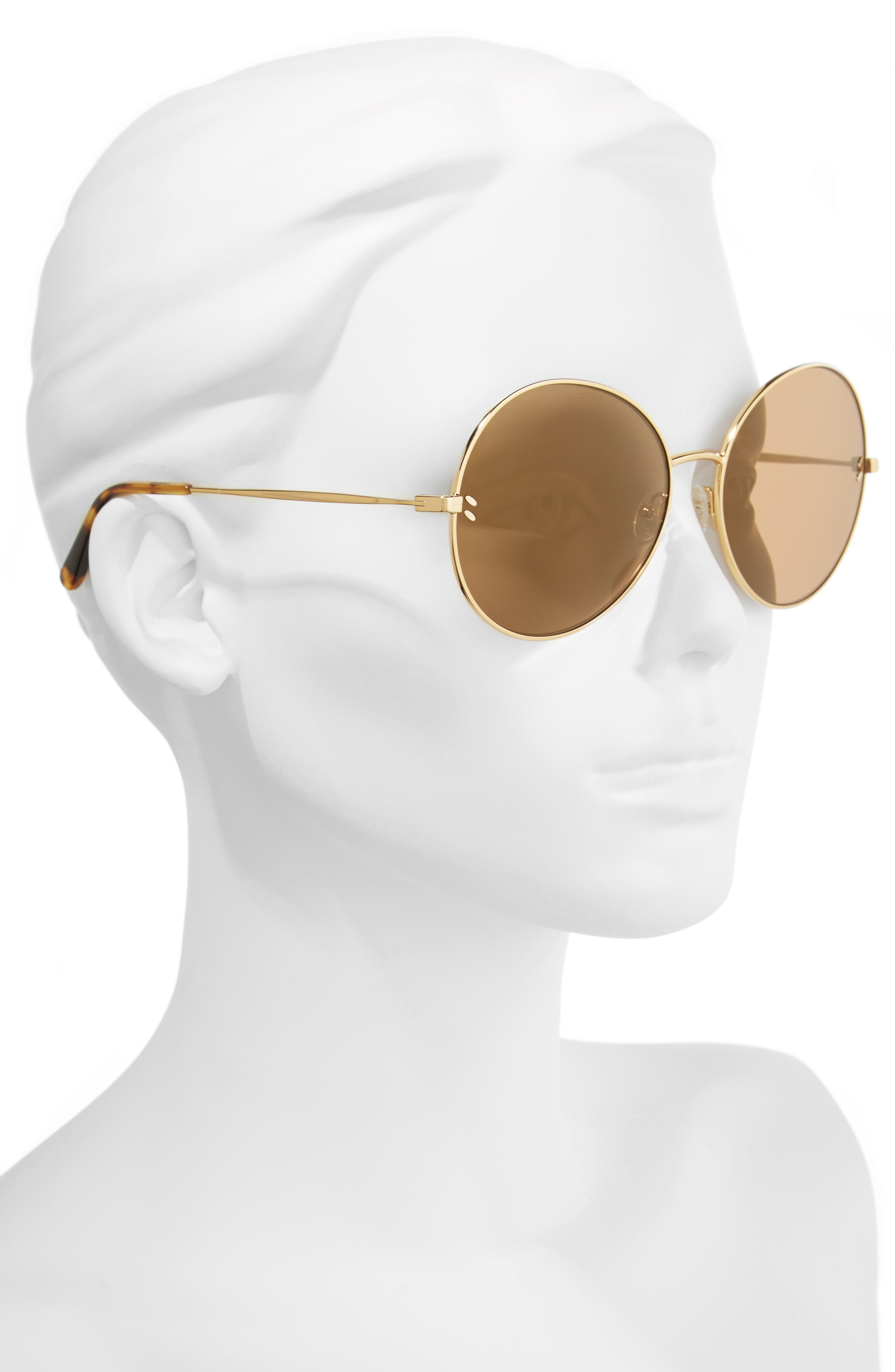 62mm Round Sunglasses,                             Alternate thumbnail 2, color,                             Gold/ Brown