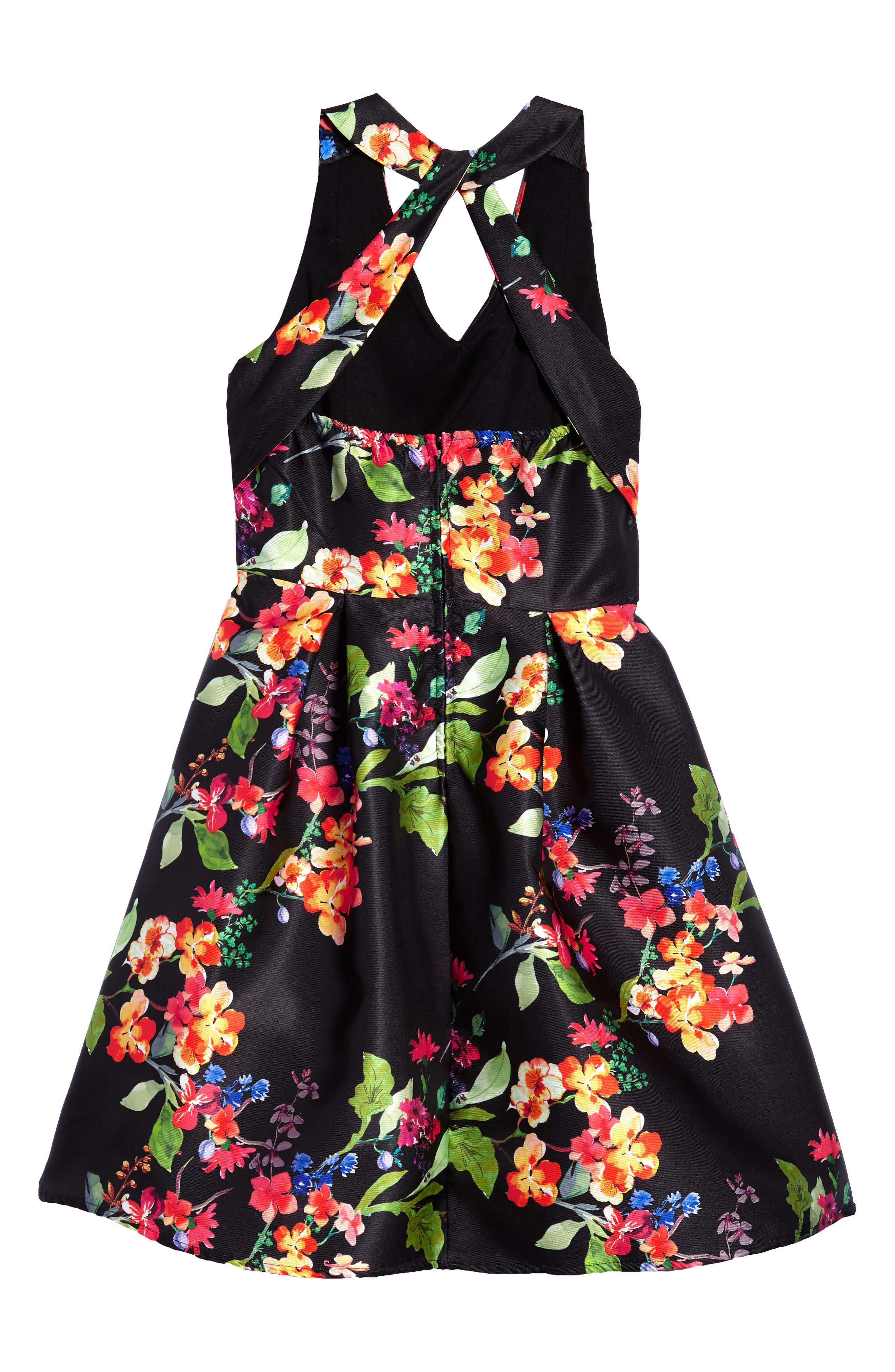 Alternate Image 2  - Love, Nickie Lew Floral Print Halter Dress (Big Girls)