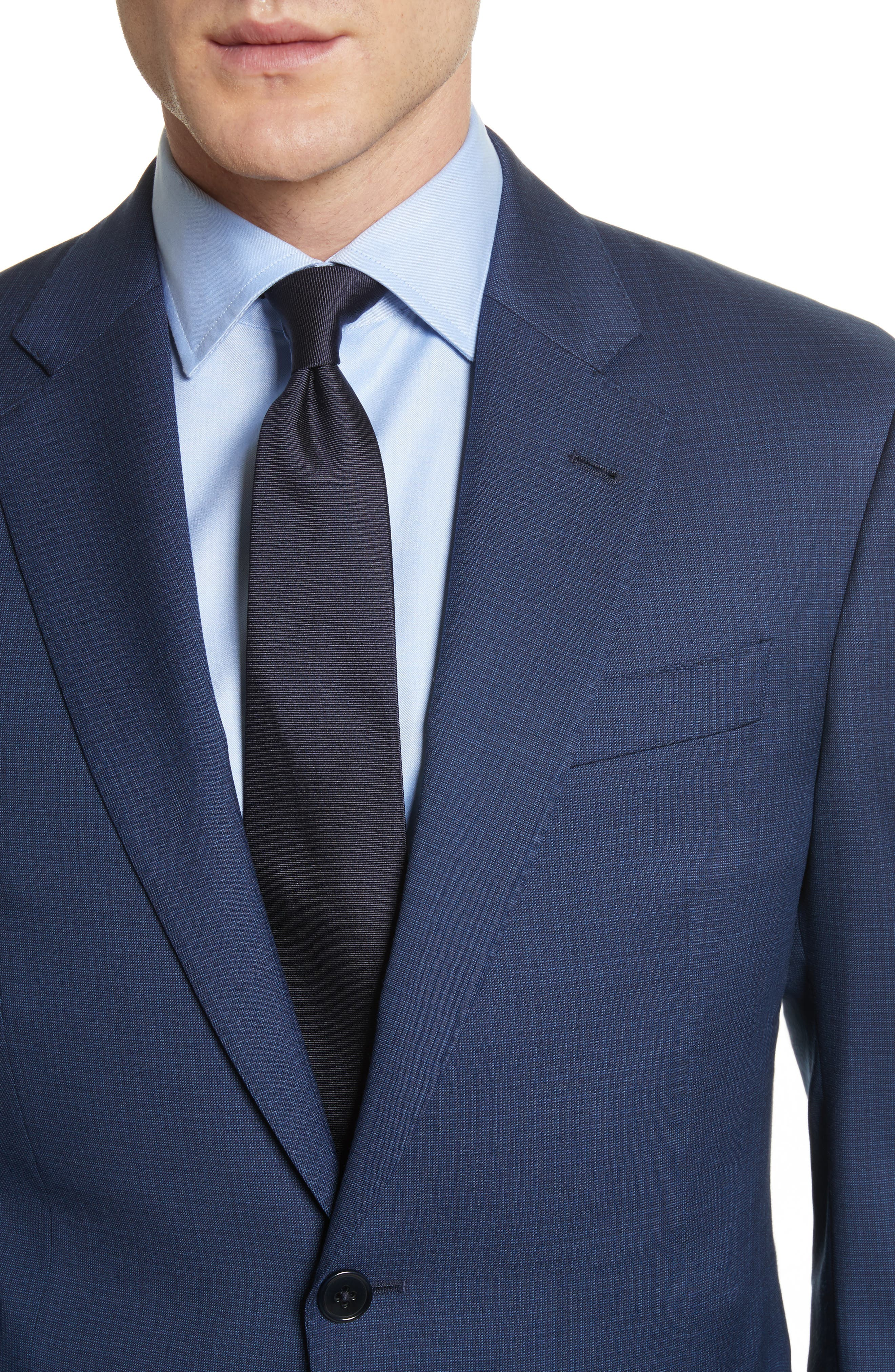 G Line Trim Fit Check Wool Suit,                             Alternate thumbnail 4, color,                             Navy