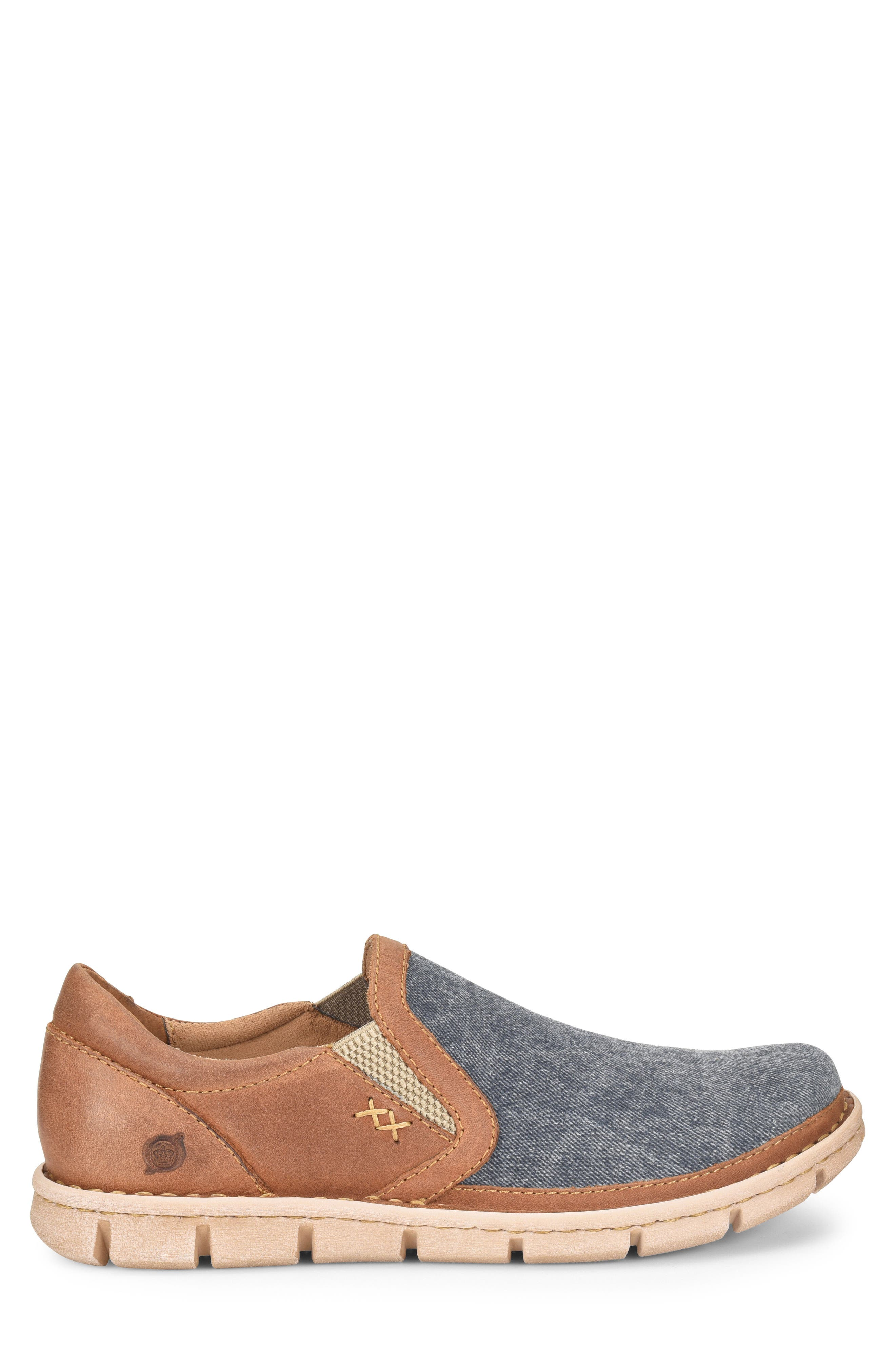 'Sawyer' Leather Slip-On,                             Alternate thumbnail 3, color,                             Navy/ Light Brown Canvas