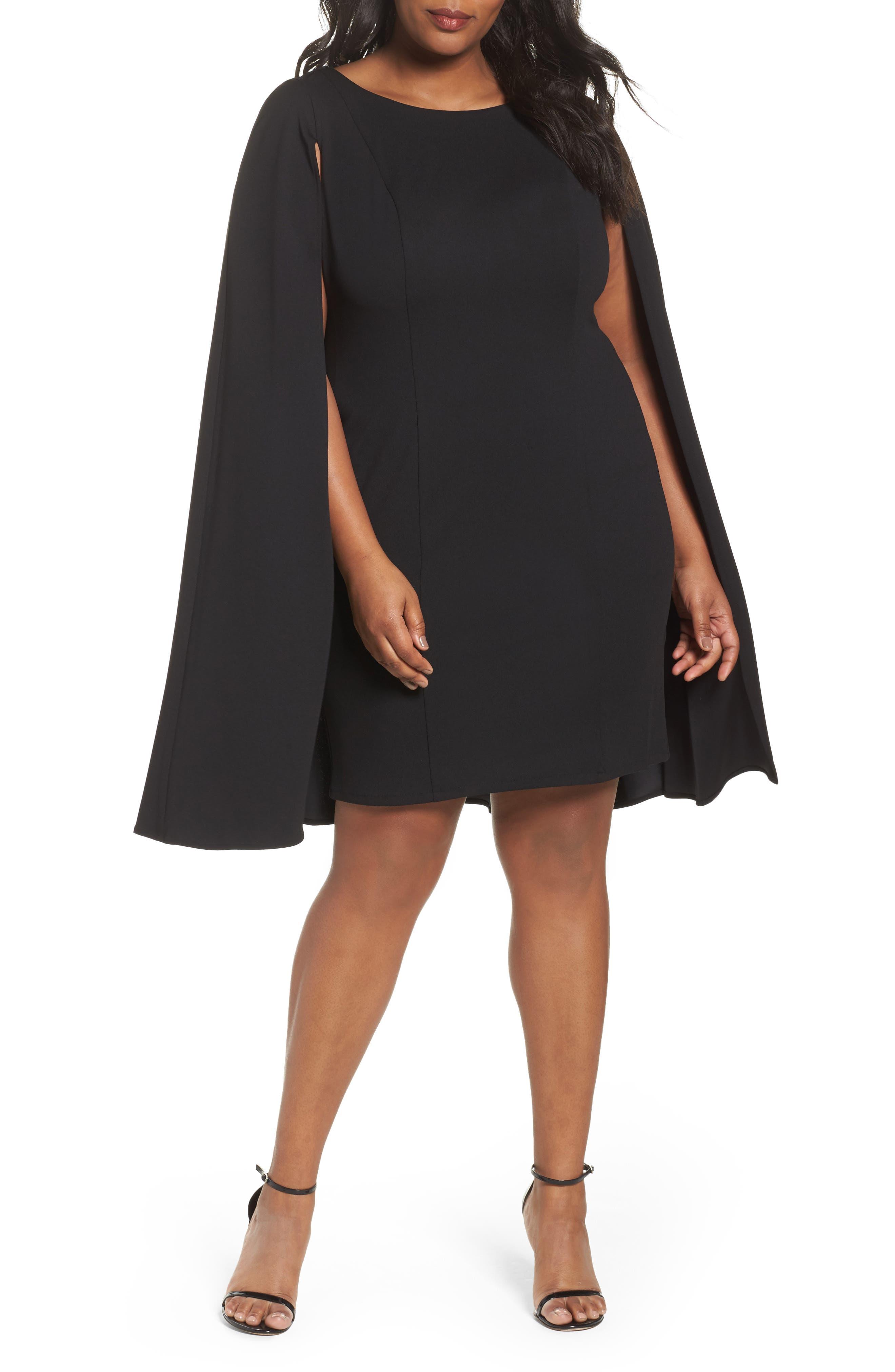 Cape Sheath Dress,                         Main,                         color, Black